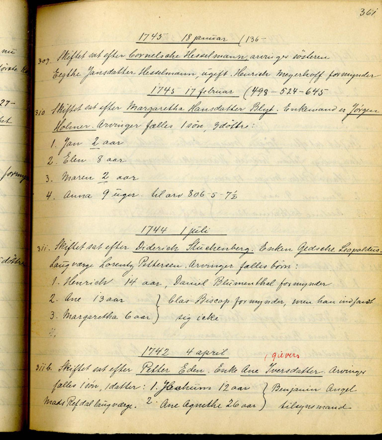 SAB, Sollied, Olaf og Thora - samlinger, 01/L0010: Skifte: Utdrag av skifteprotokoller, 1740-1759, s. 361