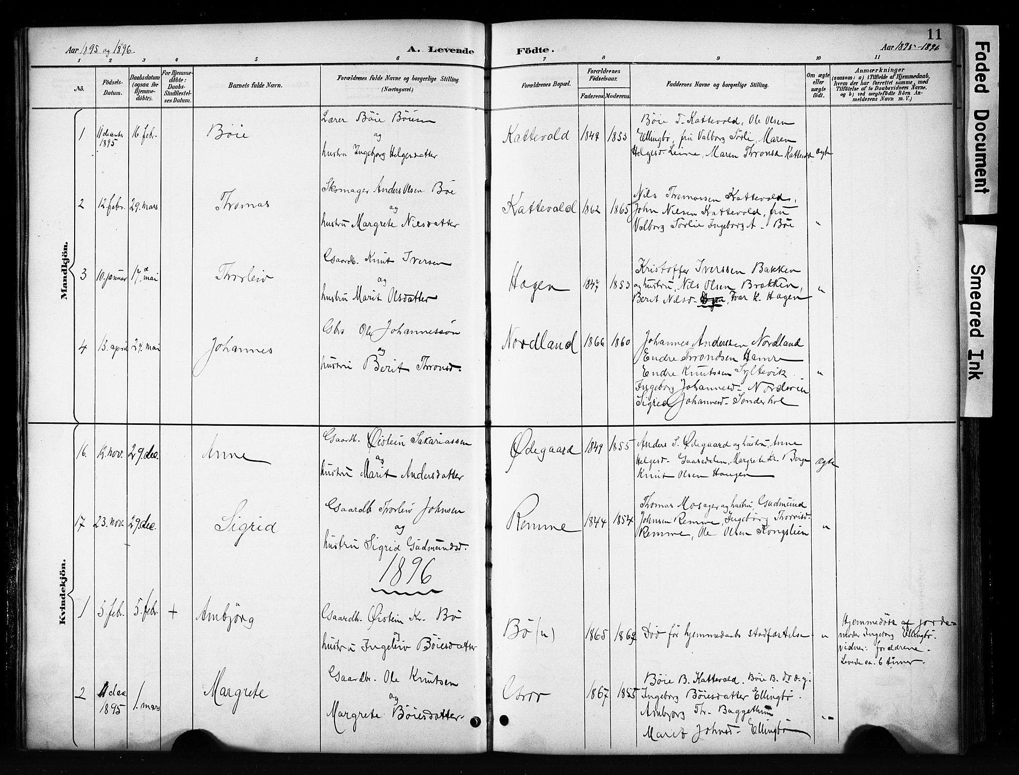 SAH, Vang prestekontor, Valdres, Klokkerbok nr. 6, 1893-1918, s. 11