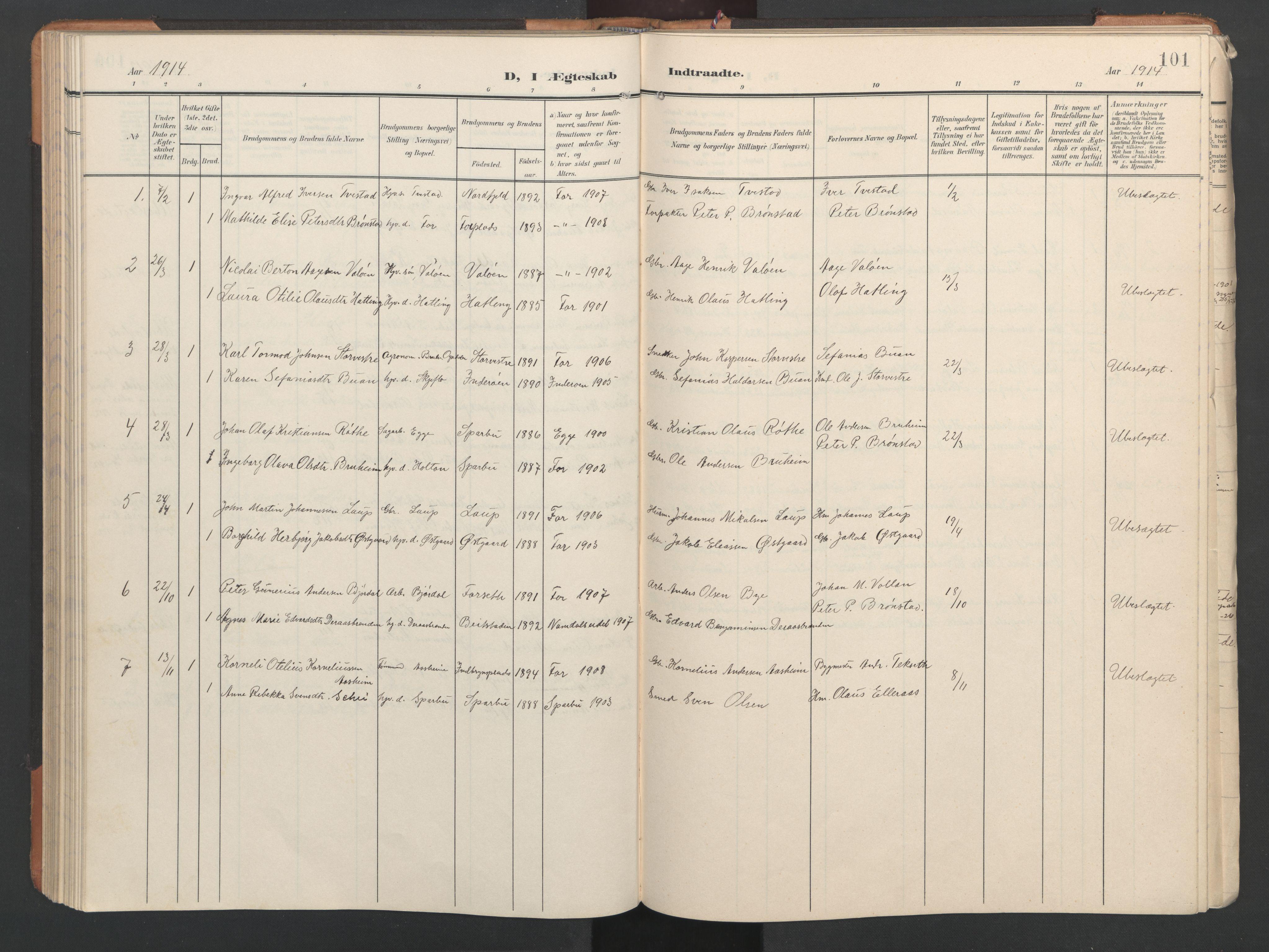 SAT, Ministerialprotokoller, klokkerbøker og fødselsregistre - Nord-Trøndelag, 746/L0455: Klokkerbok nr. 746C01, 1908-1933, s. 101