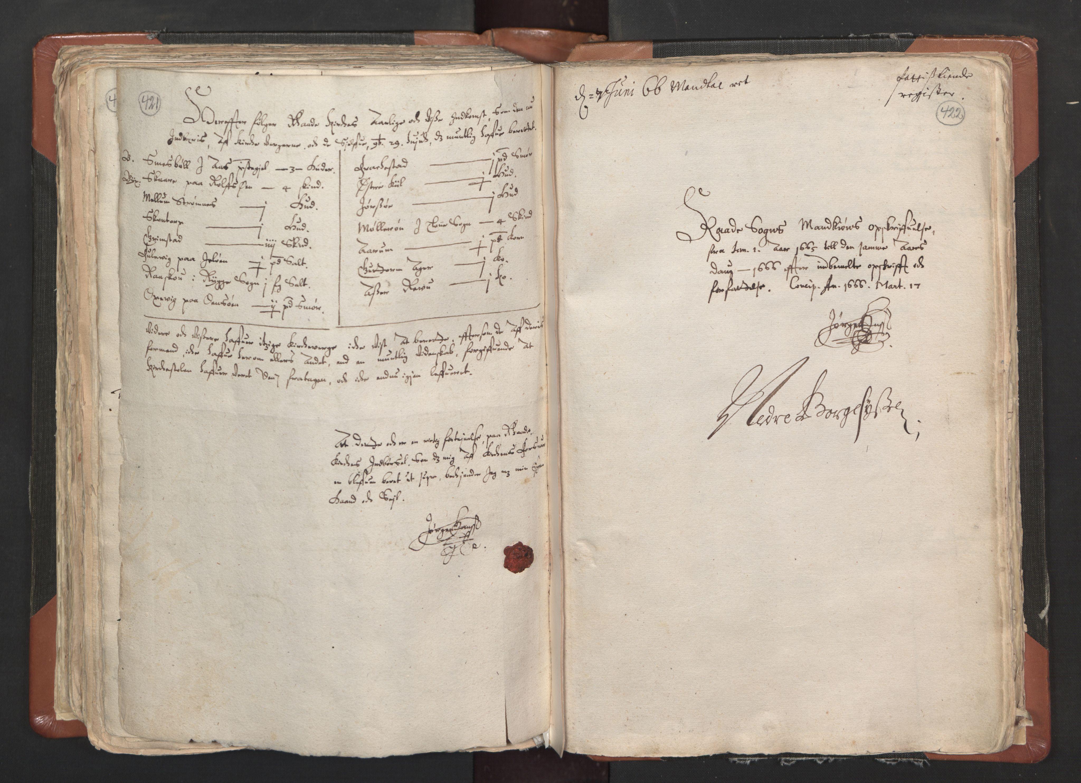 RA, Sogneprestenes manntall 1664-1666, nr. 1: Nedre Borgesyssel prosti, 1664-1666, s. 421-422