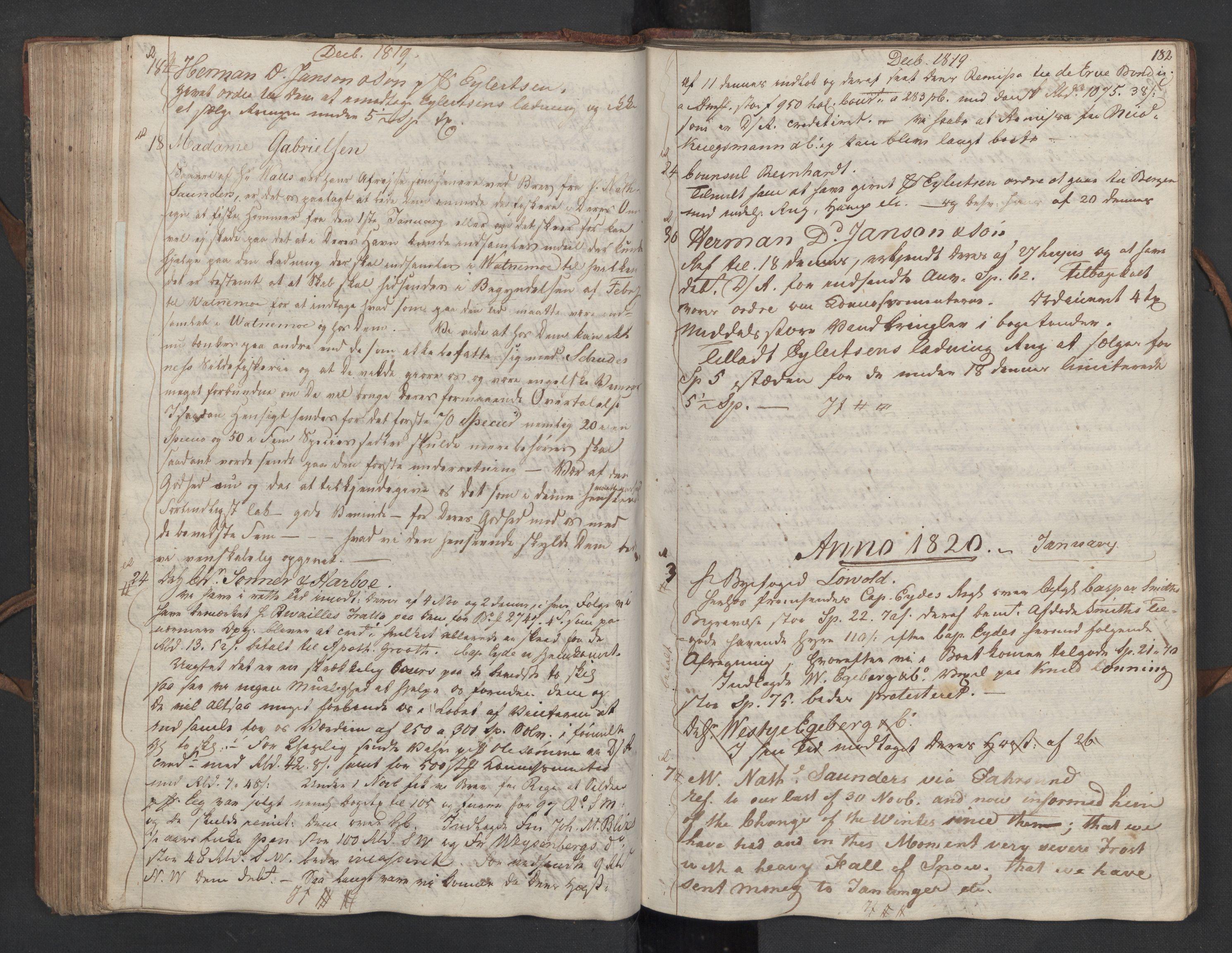 SAST, Pa 0003 - Ploug & Sundt, handelshuset, B/L0010: Kopibok, 1816-1822, s. 181b-182a