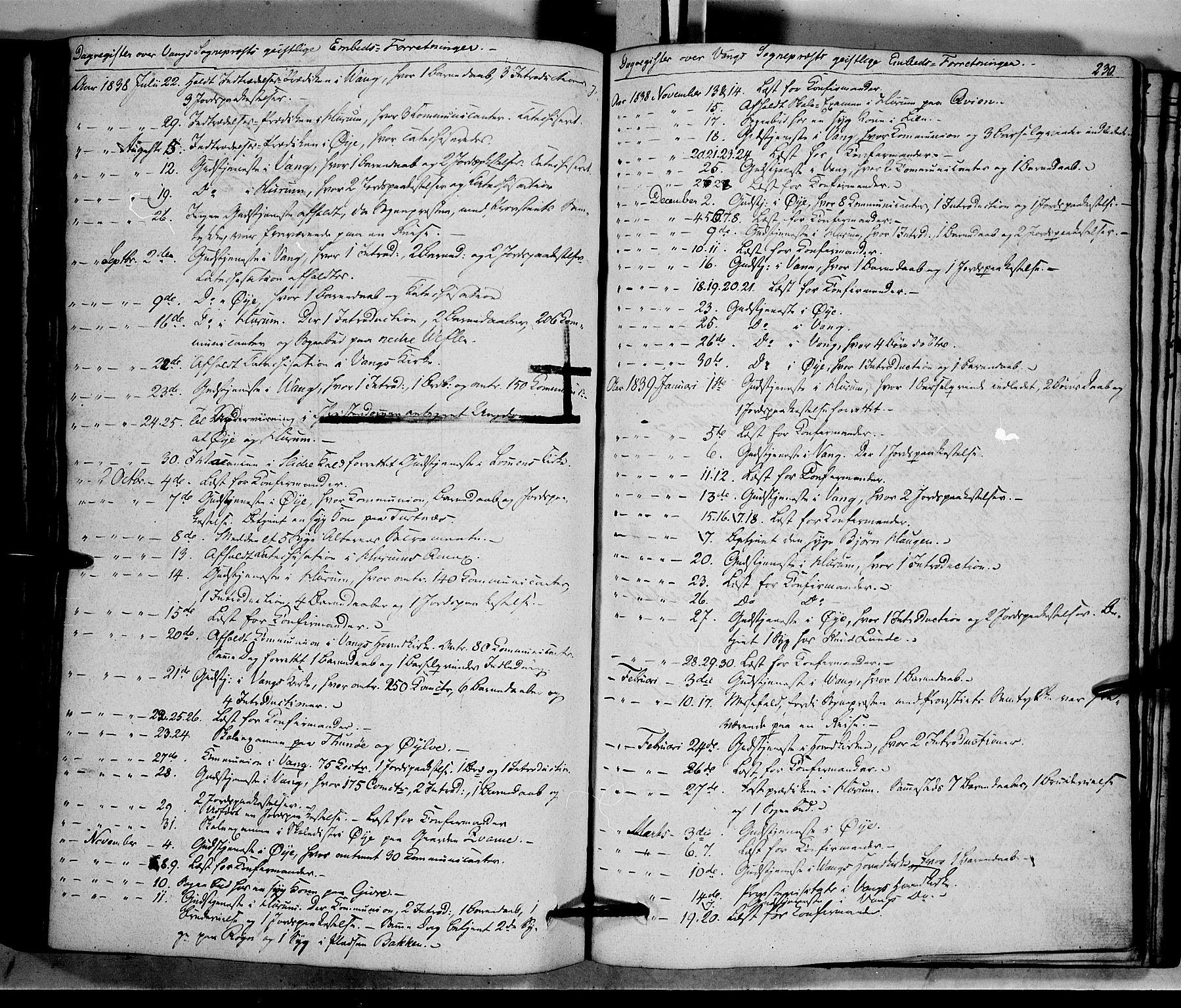 SAH, Vang prestekontor, Valdres, Ministerialbok nr. 5, 1831-1845, s. 230