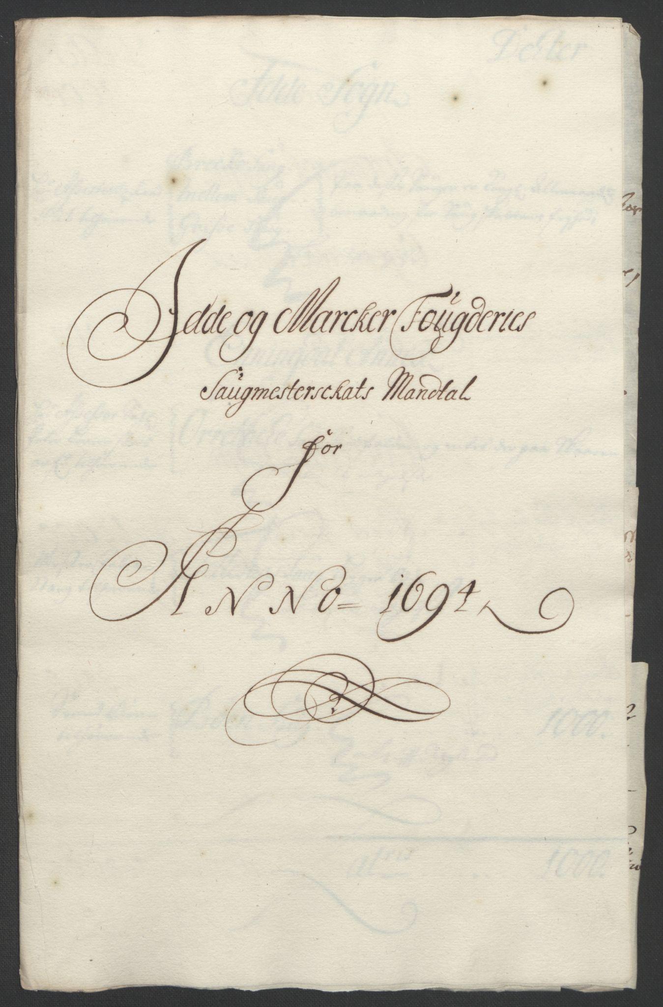 RA, Rentekammeret inntil 1814, Reviderte regnskaper, Fogderegnskap, R01/L0012: Fogderegnskap Idd og Marker, 1694-1695, s. 105