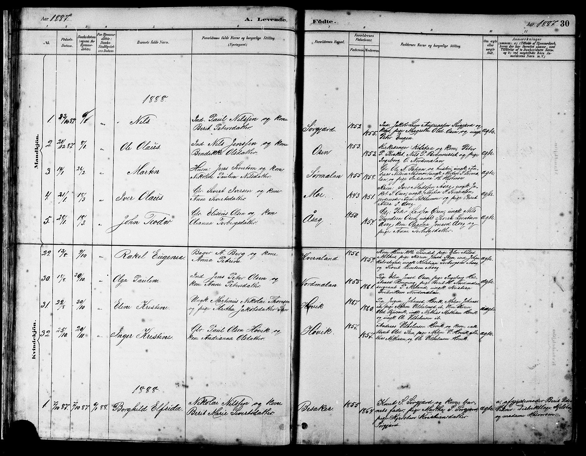 SAT, Ministerialprotokoller, klokkerbøker og fødselsregistre - Sør-Trøndelag, 658/L0726: Klokkerbok nr. 658C02, 1883-1908, s. 30