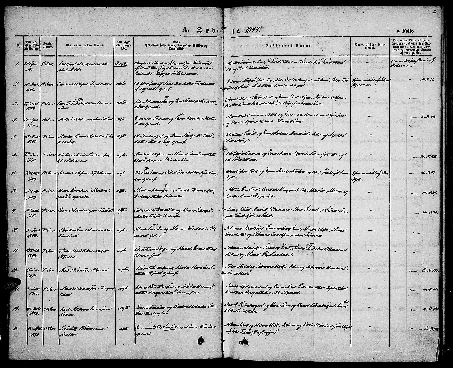 SAH, Vestre Toten prestekontor, Ministerialbok nr. 4, 1844-1849, s. 2