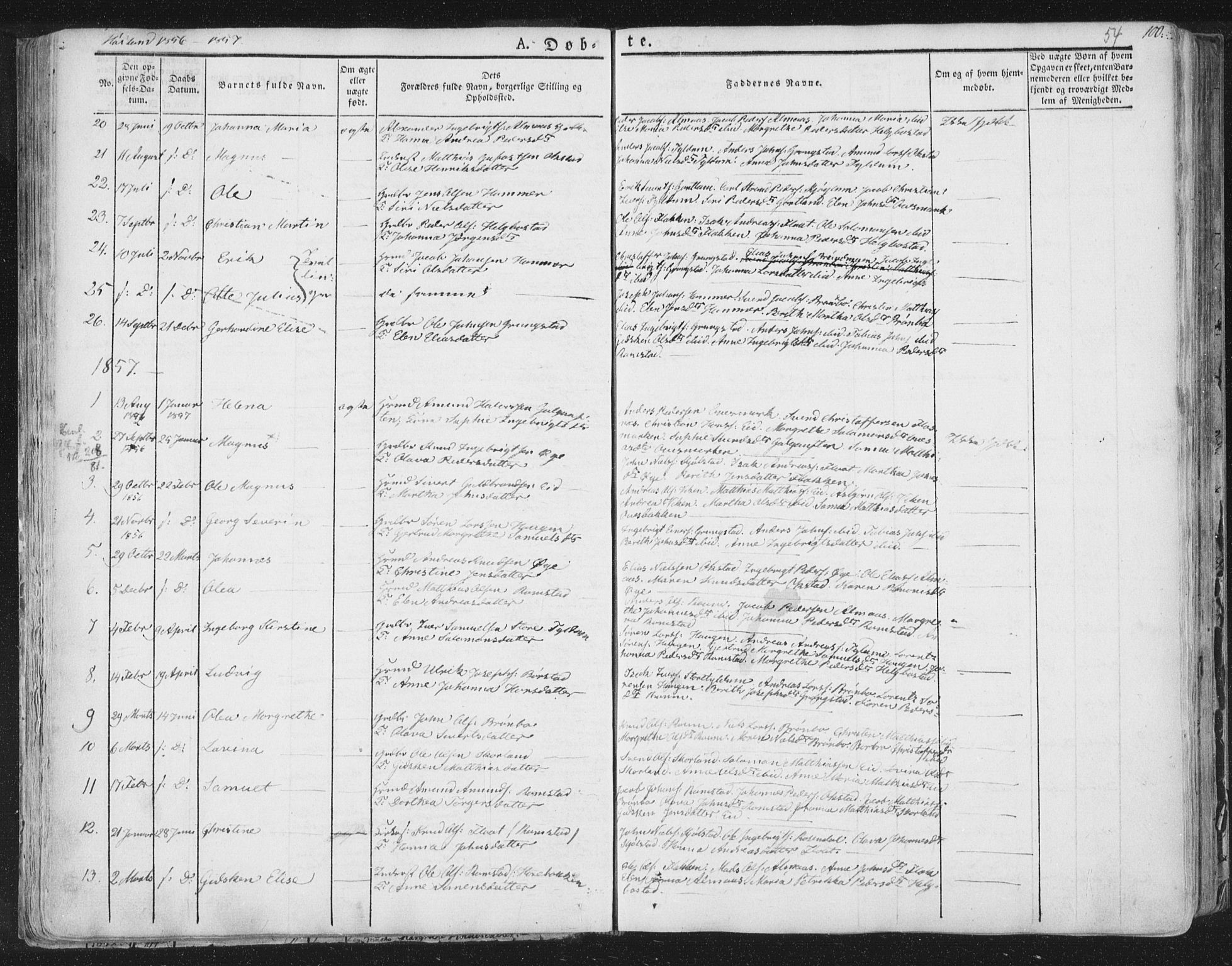 SAT, Ministerialprotokoller, klokkerbøker og fødselsregistre - Nord-Trøndelag, 758/L0513: Ministerialbok nr. 758A02 /2, 1839-1868, s. 54