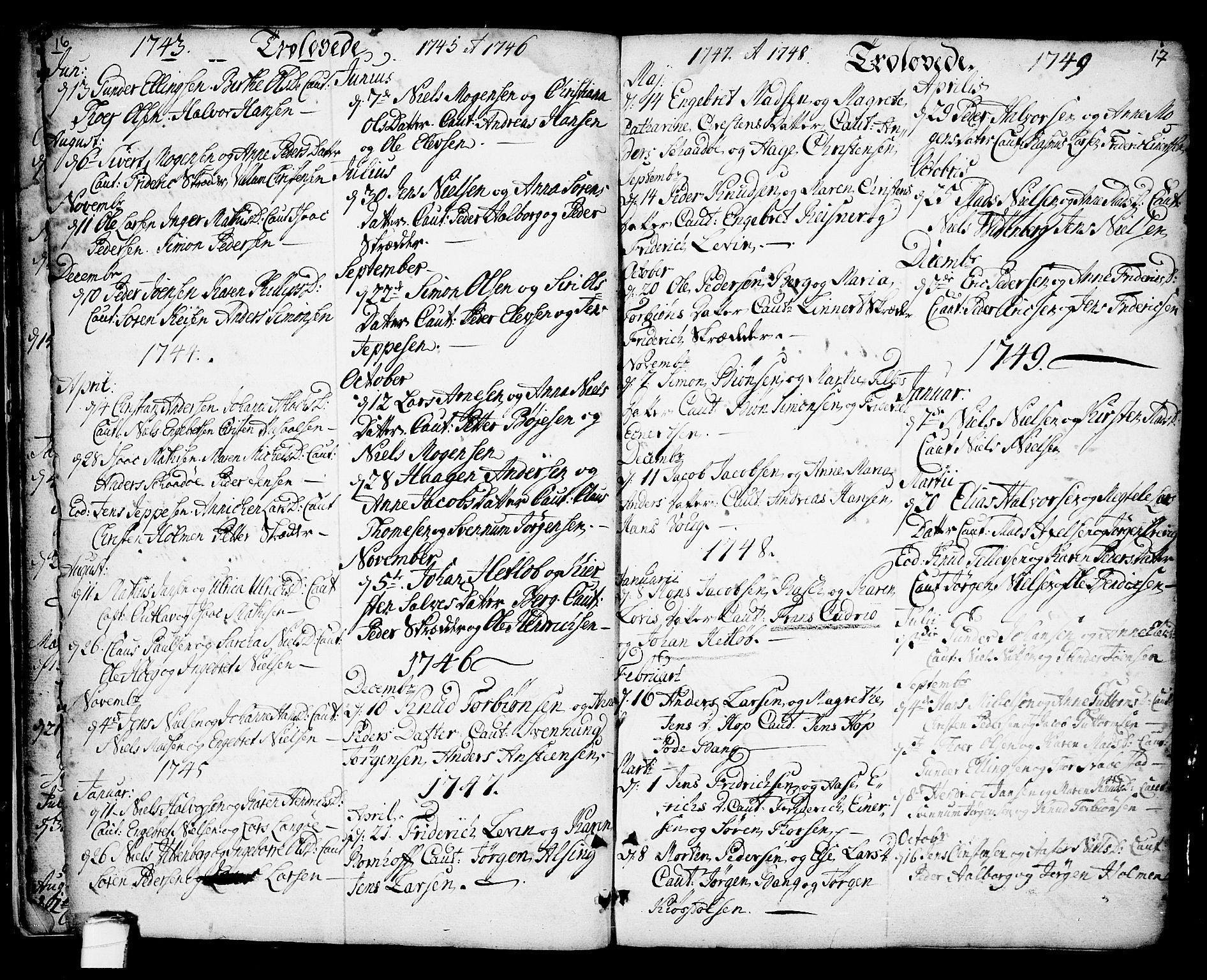 SAKO, Kragerø kirkebøker, F/Fa/L0001: Ministerialbok nr. 1, 1702-1766, s. 16-17