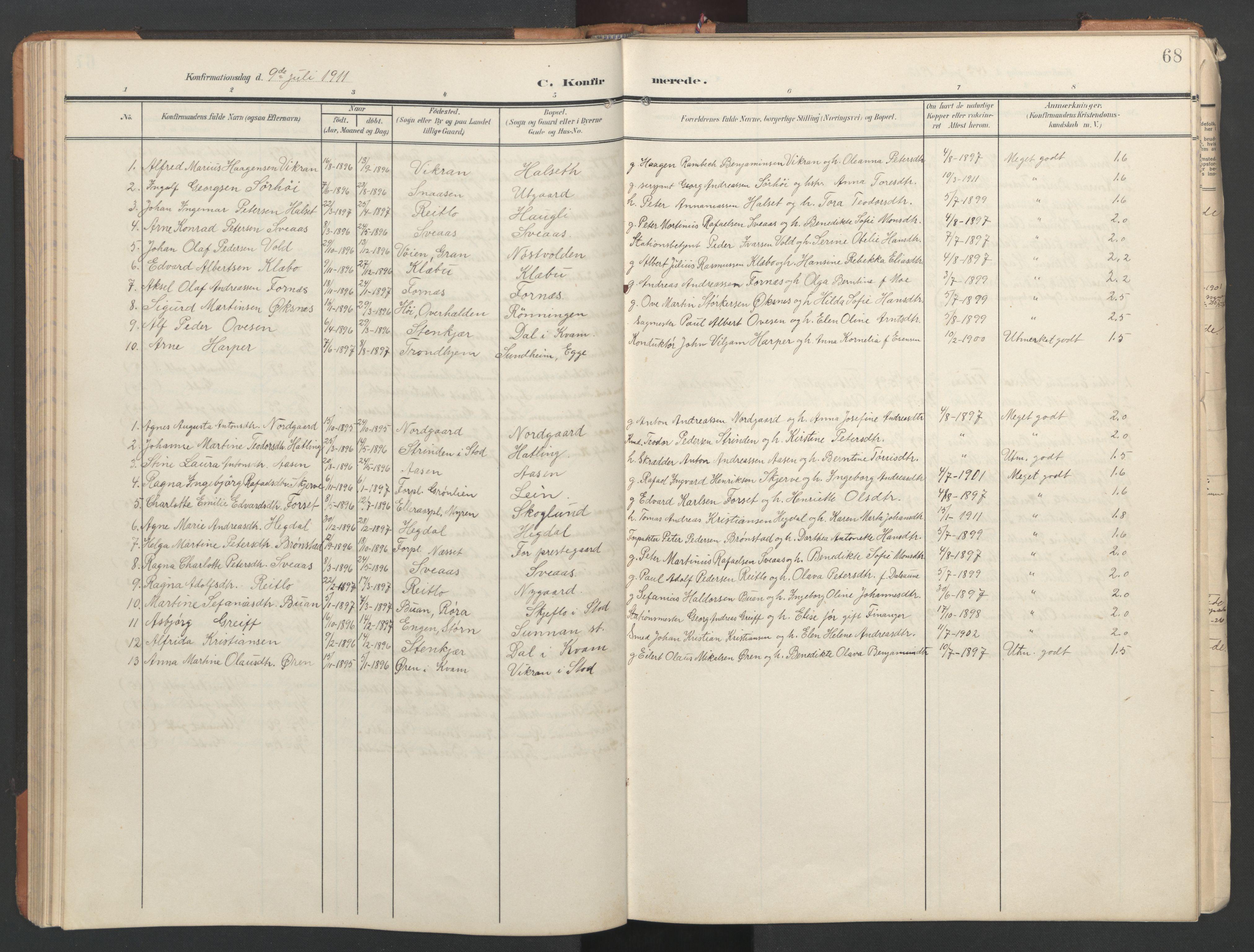 SAT, Ministerialprotokoller, klokkerbøker og fødselsregistre - Nord-Trøndelag, 746/L0455: Klokkerbok nr. 746C01, 1908-1933, s. 68