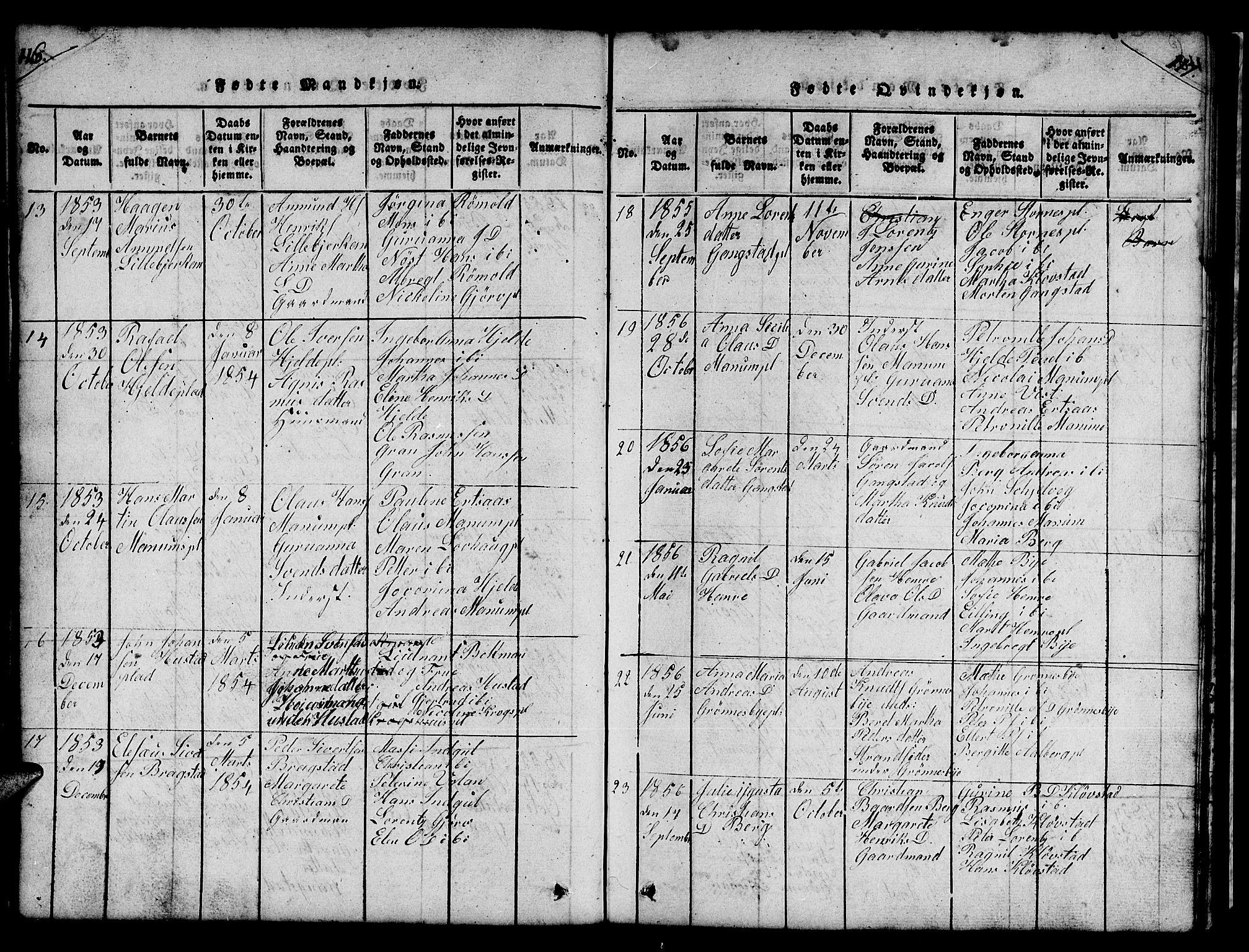 SAT, Ministerialprotokoller, klokkerbøker og fødselsregistre - Nord-Trøndelag, 732/L0317: Klokkerbok nr. 732C01, 1816-1881, s. 116-117