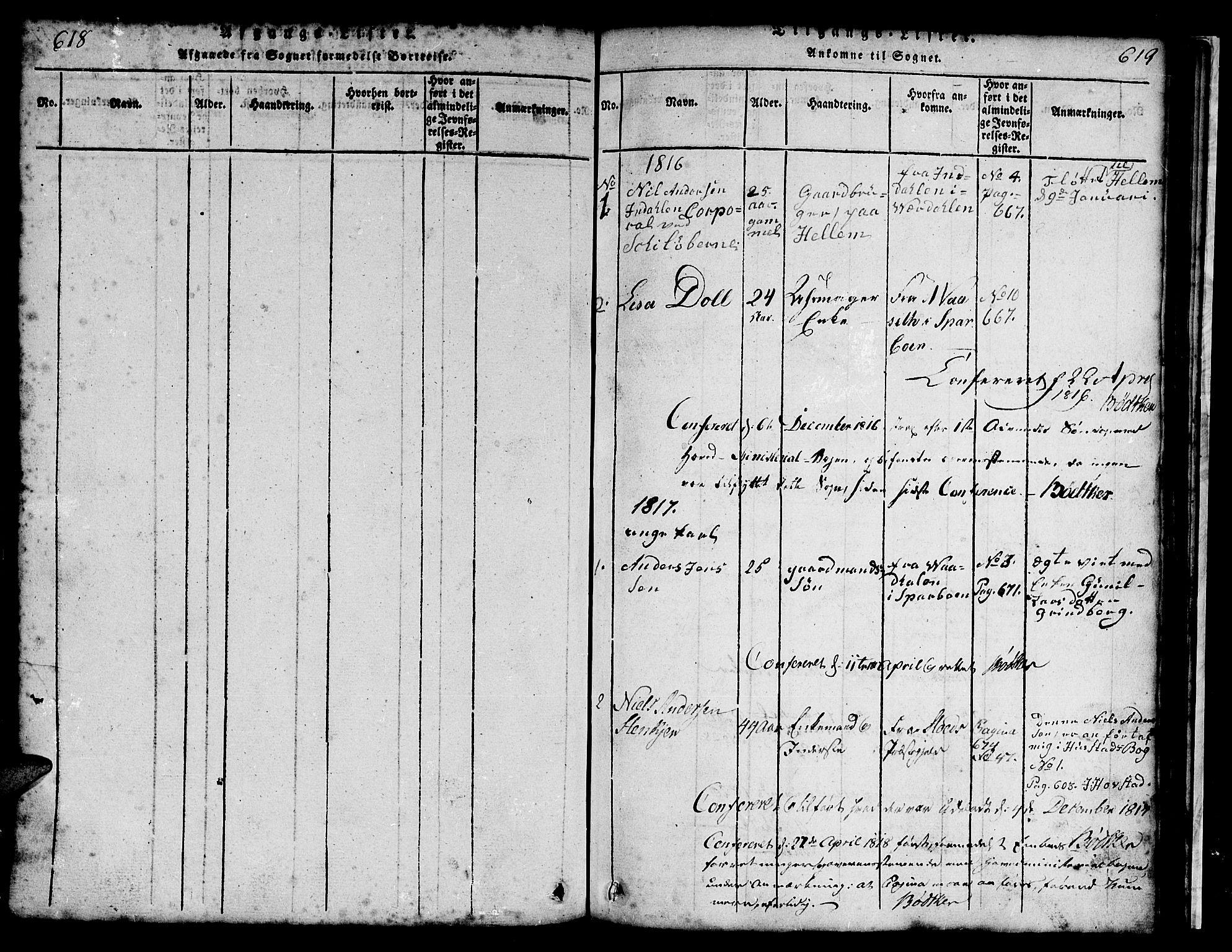 SAT, Ministerialprotokoller, klokkerbøker og fødselsregistre - Nord-Trøndelag, 731/L0310: Klokkerbok nr. 731C01, 1816-1874, s. 618-619
