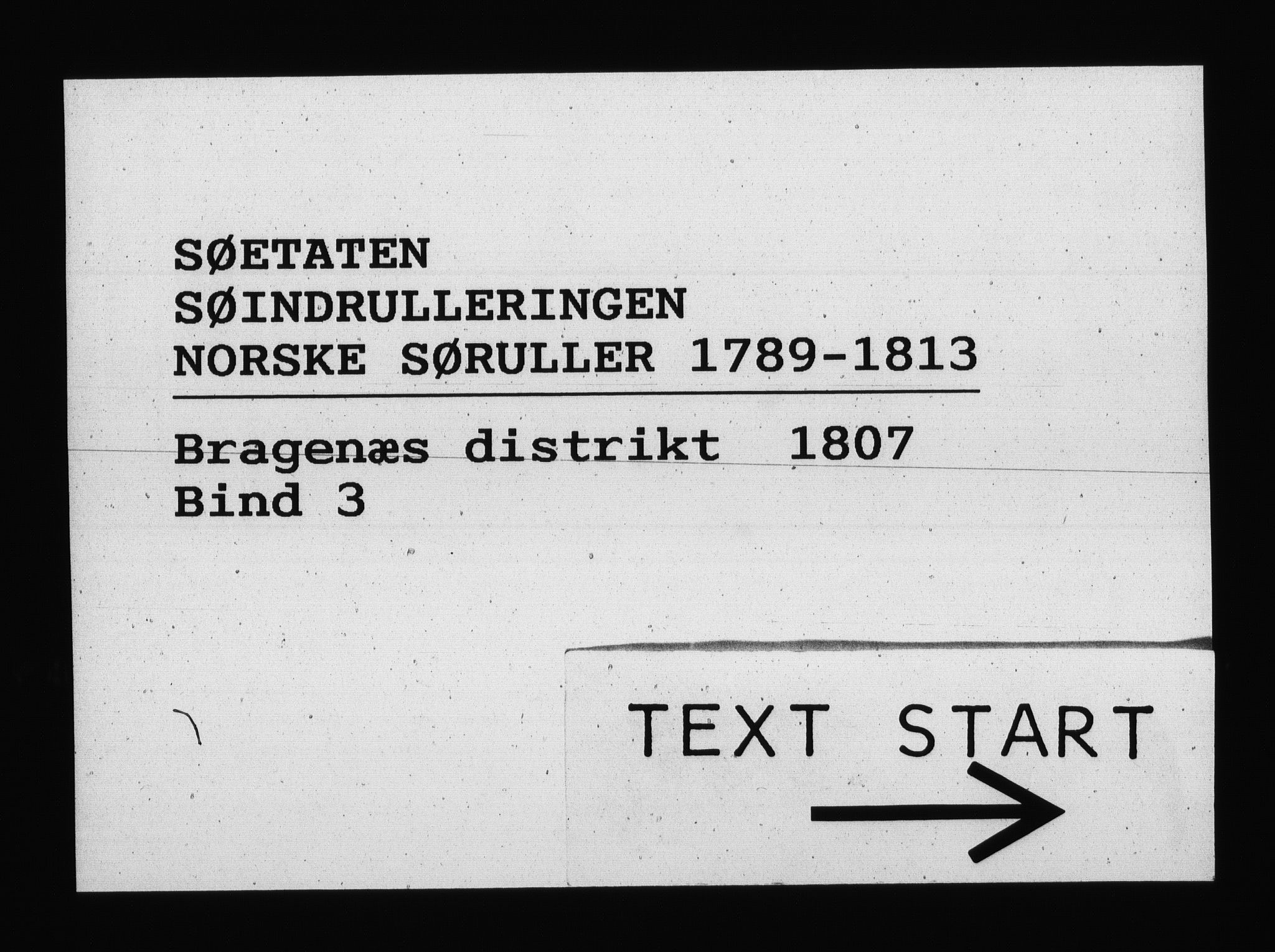 RA, Sjøetaten, F/L0151: Bragernes distrikt, bind 3, 1807