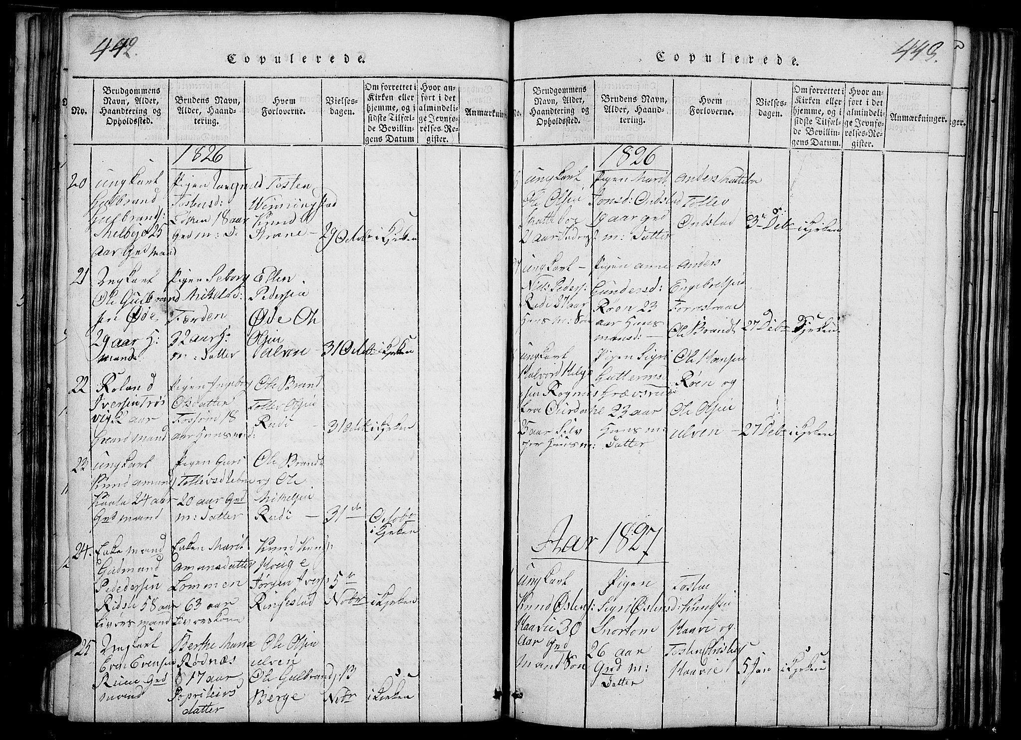 SAH, Slidre prestekontor, Ministerialbok nr. 2, 1814-1830, s. 442-443