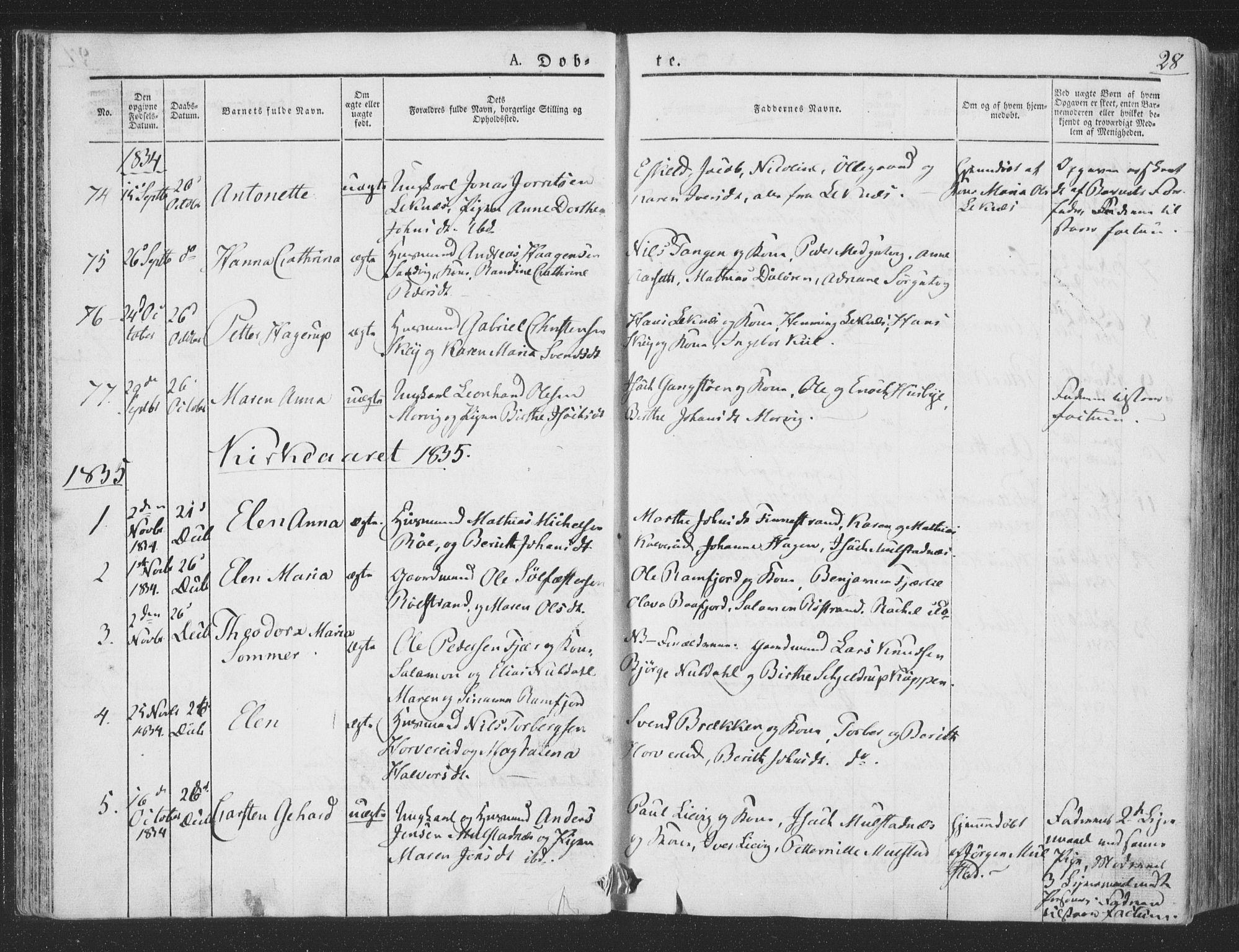 SAT, Ministerialprotokoller, klokkerbøker og fødselsregistre - Nord-Trøndelag, 780/L0639: Ministerialbok nr. 780A04, 1830-1844, s. 28