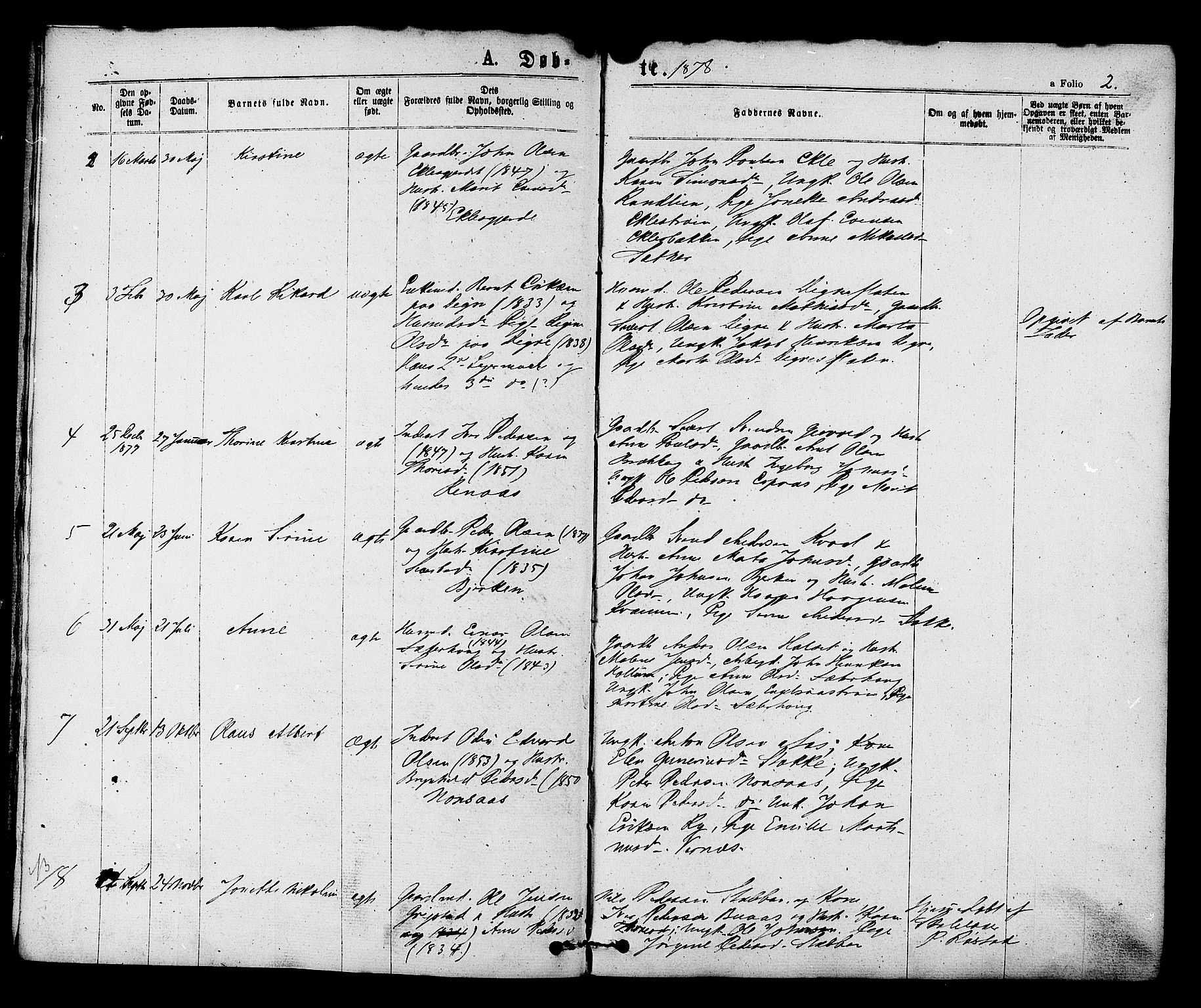 SAT, Ministerialprotokoller, klokkerbøker og fødselsregistre - Sør-Trøndelag, 608/L0334: Ministerialbok nr. 608A03, 1877-1886, s. 2