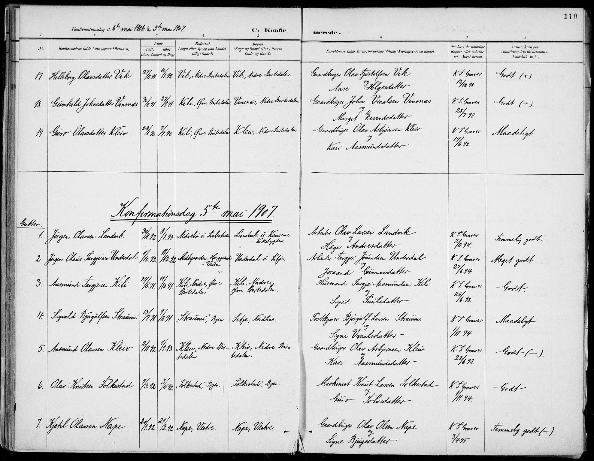 SAKO, Fyresdal kirkebøker, F/Fa/L0007: Ministerialbok nr. I 7, 1887-1914, s. 110