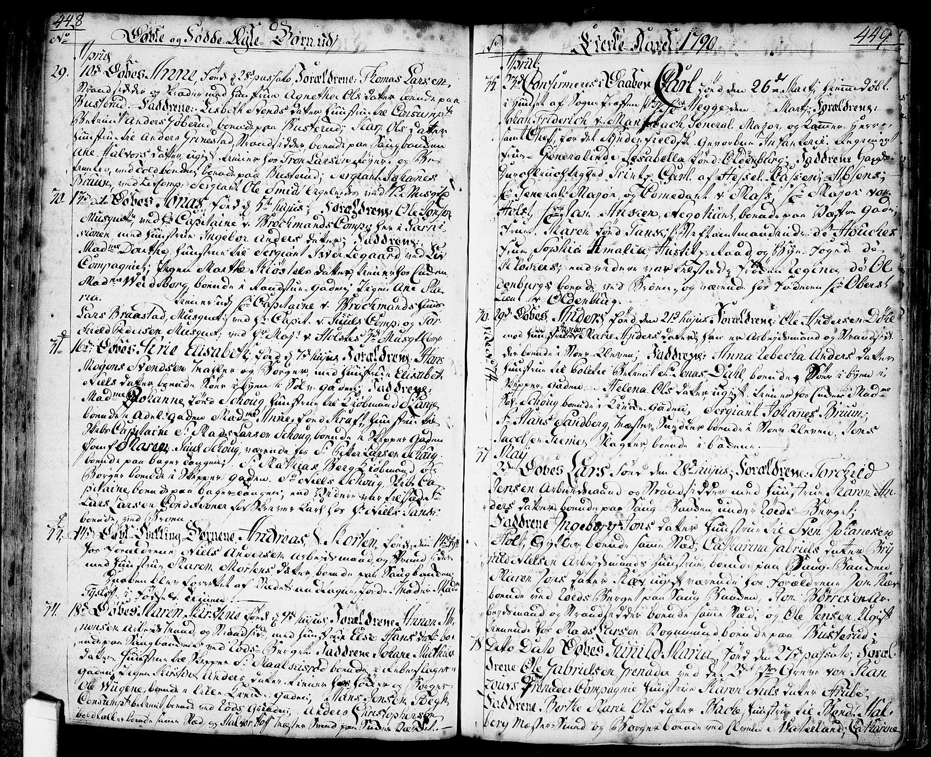 SAO, Halden prestekontor Kirkebøker, F/Fa/L0001: Ministerialbok nr. I 1, 1758-1791, s. 448-449