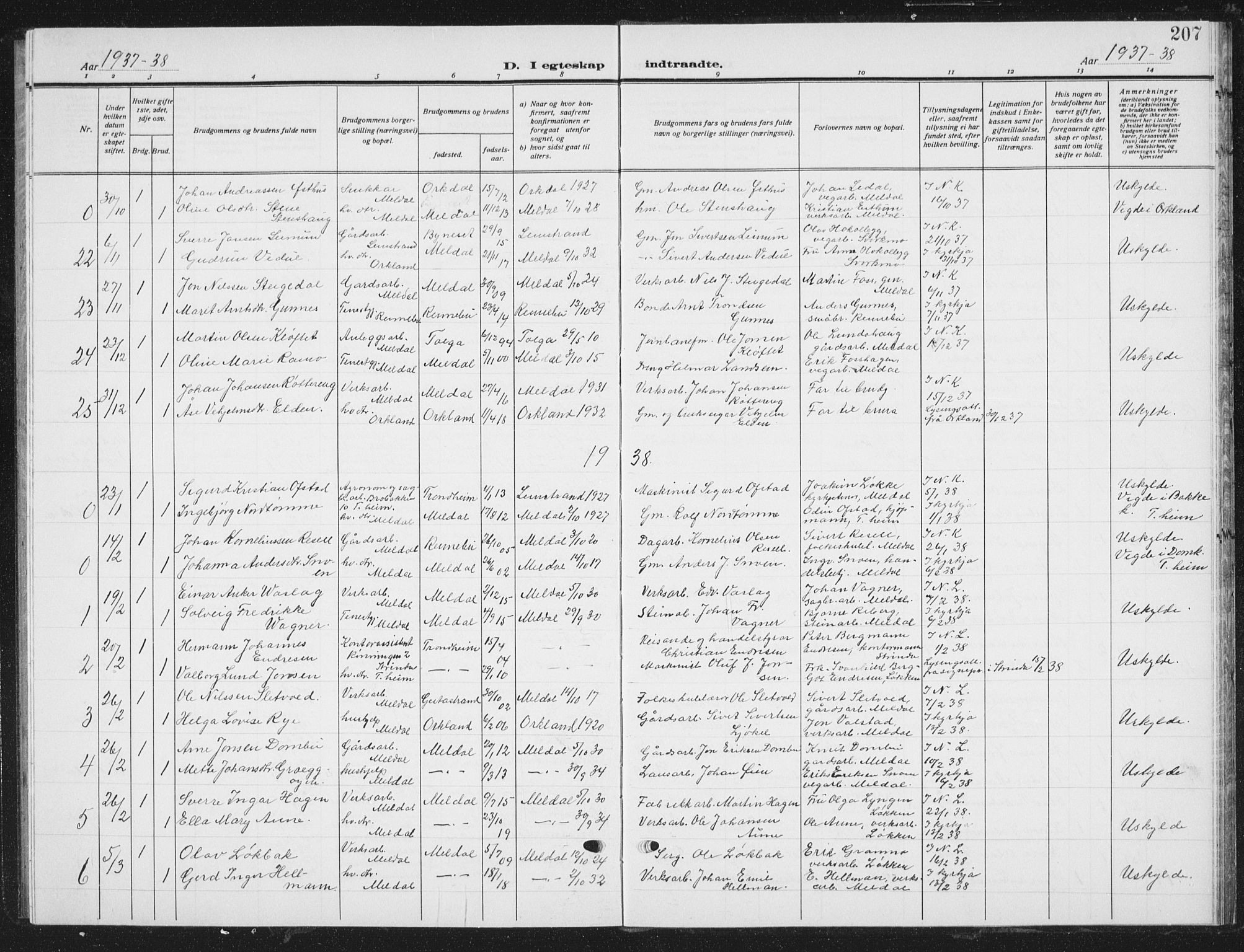SAT, Ministerialprotokoller, klokkerbøker og fødselsregistre - Sør-Trøndelag, 672/L0866: Klokkerbok nr. 672C05, 1929-1939, s. 207