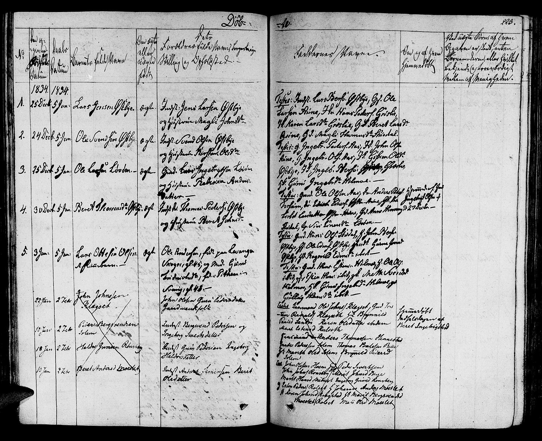 SAT, Ministerialprotokoller, klokkerbøker og fødselsregistre - Sør-Trøndelag, 695/L1144: Ministerialbok nr. 695A05 /2, 1824-1842, s. 223