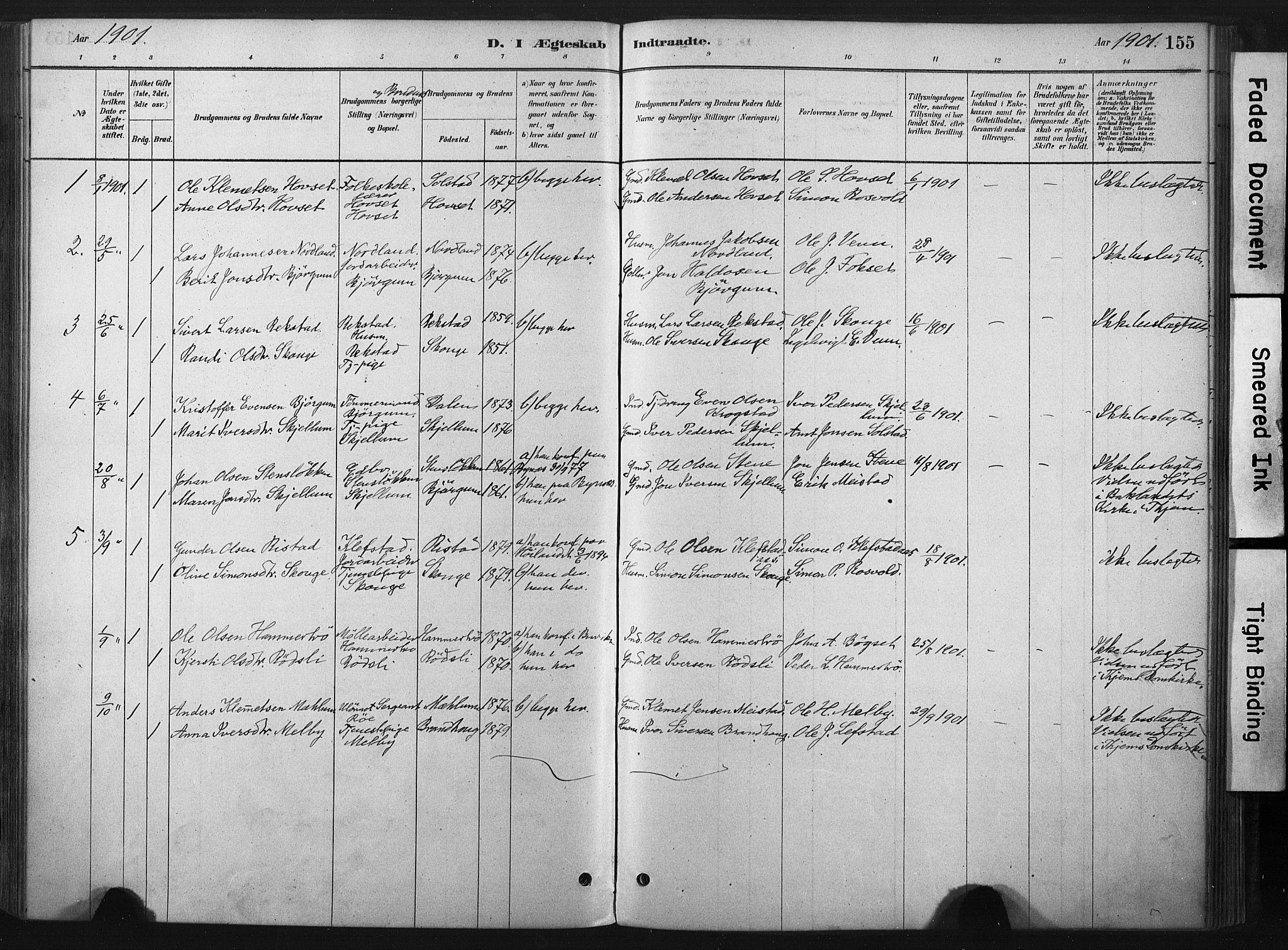 SAT, Ministerialprotokoller, klokkerbøker og fødselsregistre - Sør-Trøndelag, 667/L0795: Ministerialbok nr. 667A03, 1879-1907, s. 155