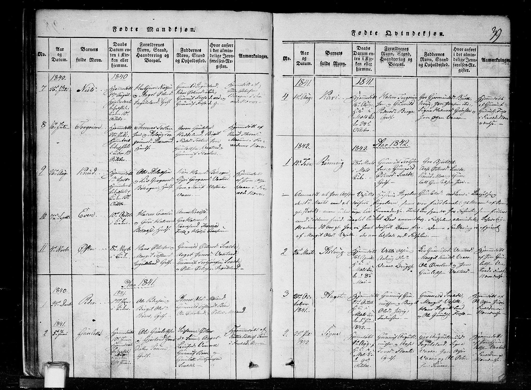 SAKO, Tinn kirkebøker, G/Gc/L0001: Klokkerbok nr. III 1, 1815-1879, s. 39