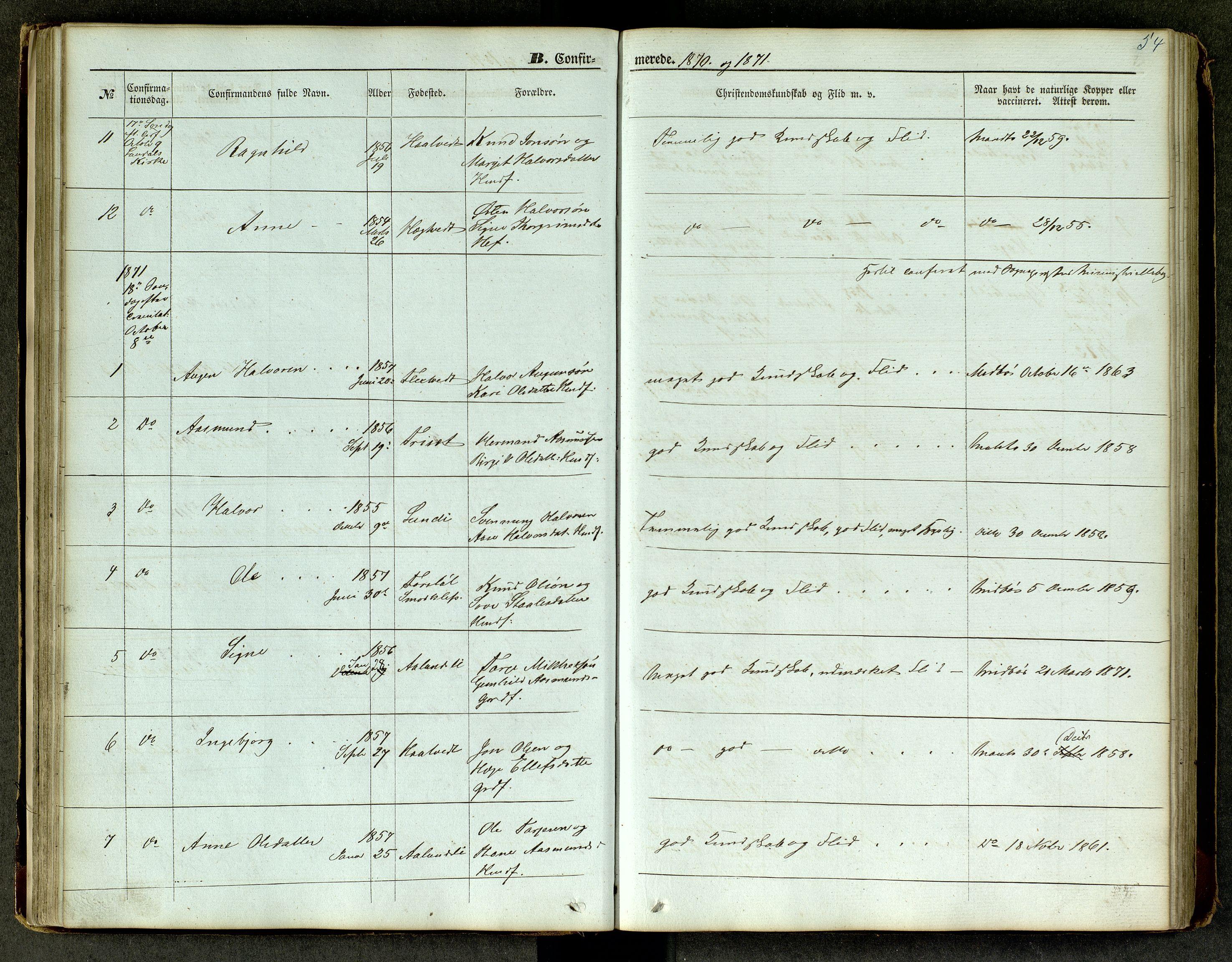 SAKO, Lårdal kirkebøker, G/Ga/L0002: Klokkerbok nr. I 2, 1861-1890, s. 54