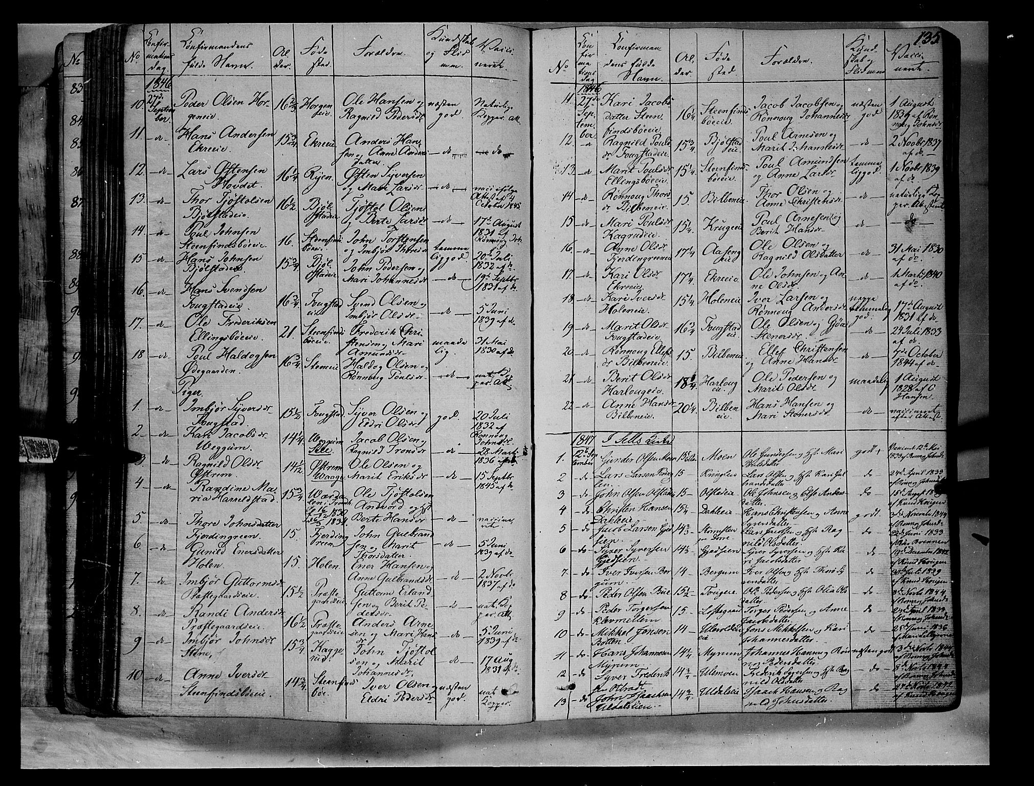 SAH, Vågå prestekontor, Ministerialbok nr. 5 /1, 1842-1856, s. 135
