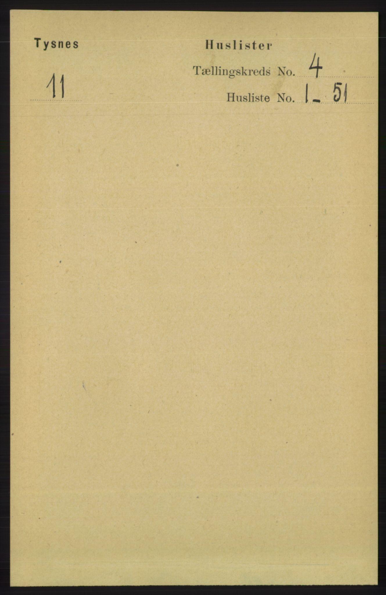 RA, Folketelling 1891 for 1223 Tysnes herred, 1891, s. 1479