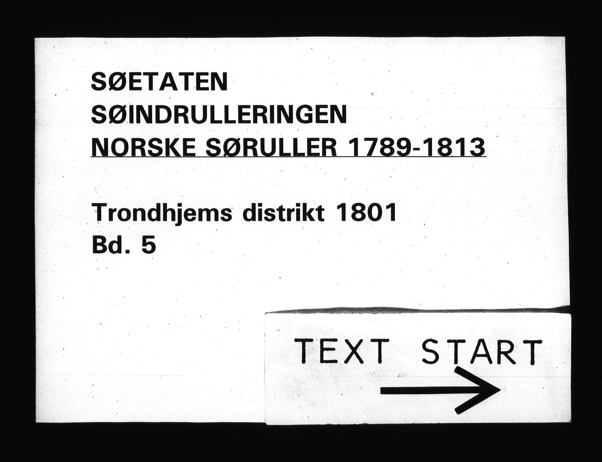 RA, Sjøetaten, F/L0328: Trondheim distrikt, bind 5, 1801