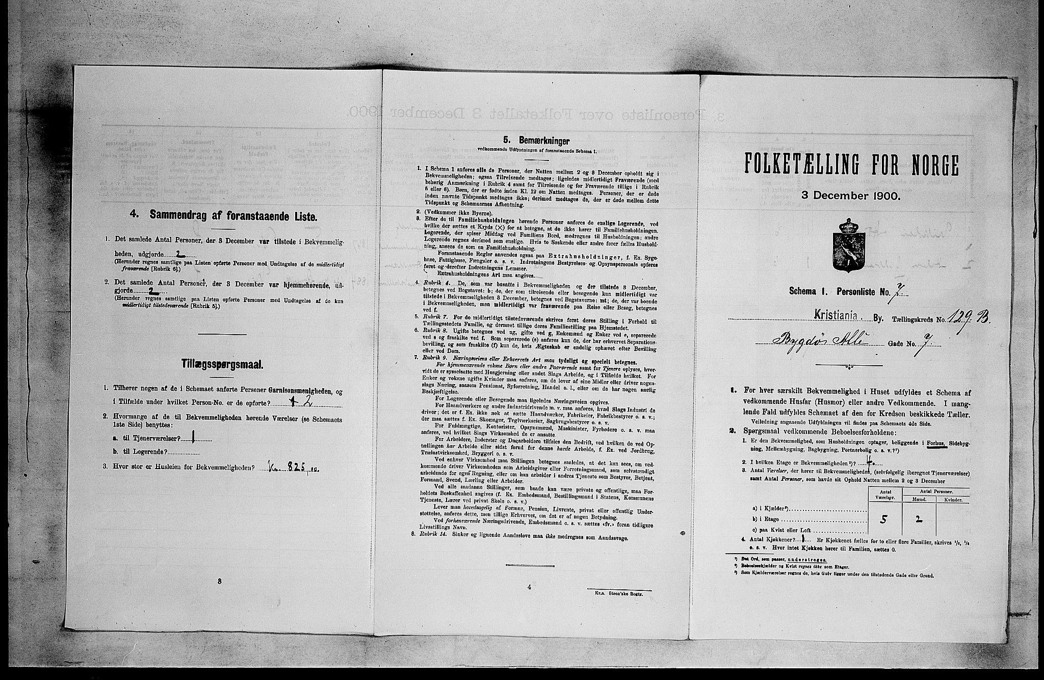 SAO, Folketelling 1900 for 0301 Kristiania kjøpstad, 1900, s. 9635