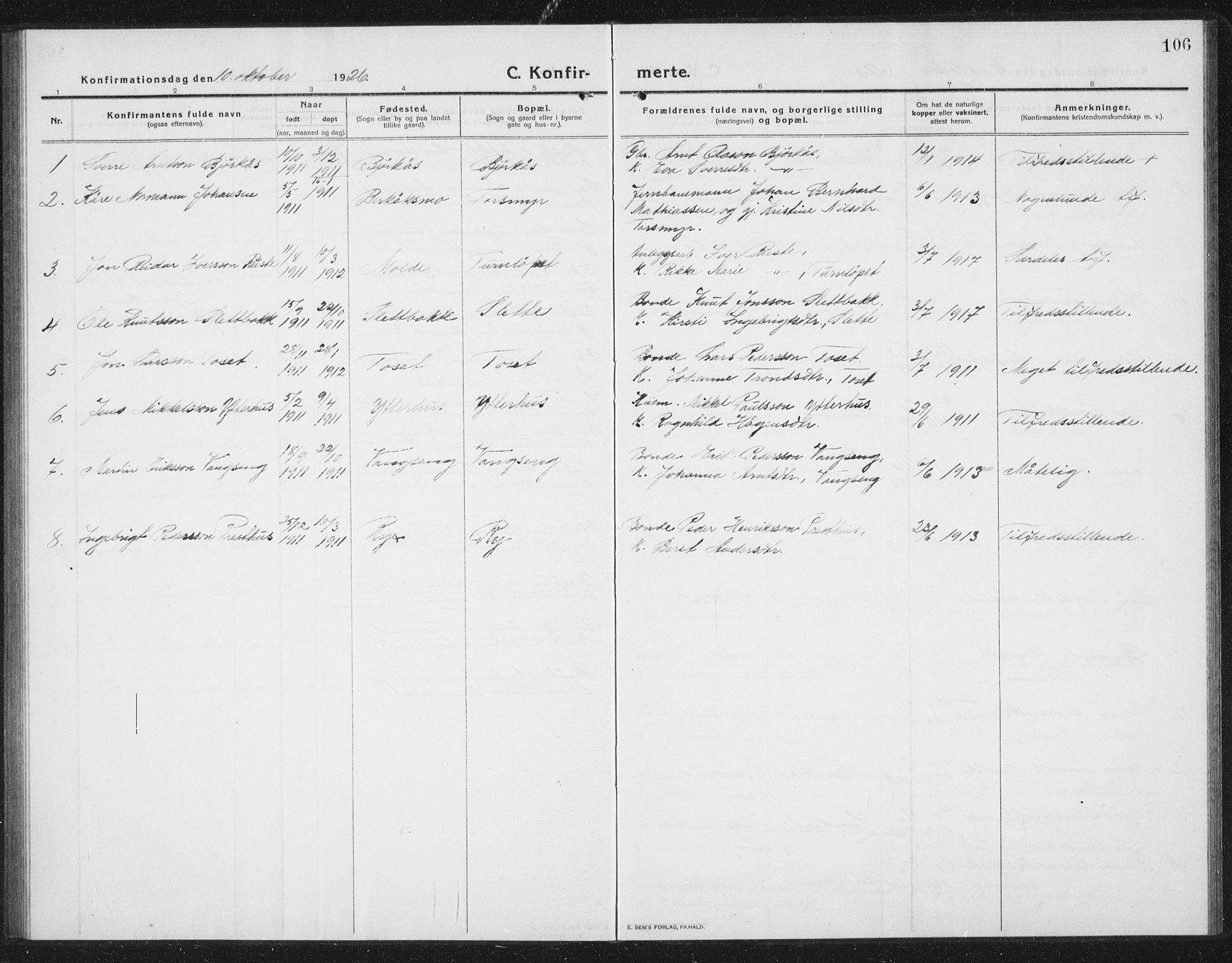 SAT, Ministerialprotokoller, klokkerbøker og fødselsregistre - Sør-Trøndelag, 675/L0888: Klokkerbok nr. 675C01, 1913-1935, s. 106