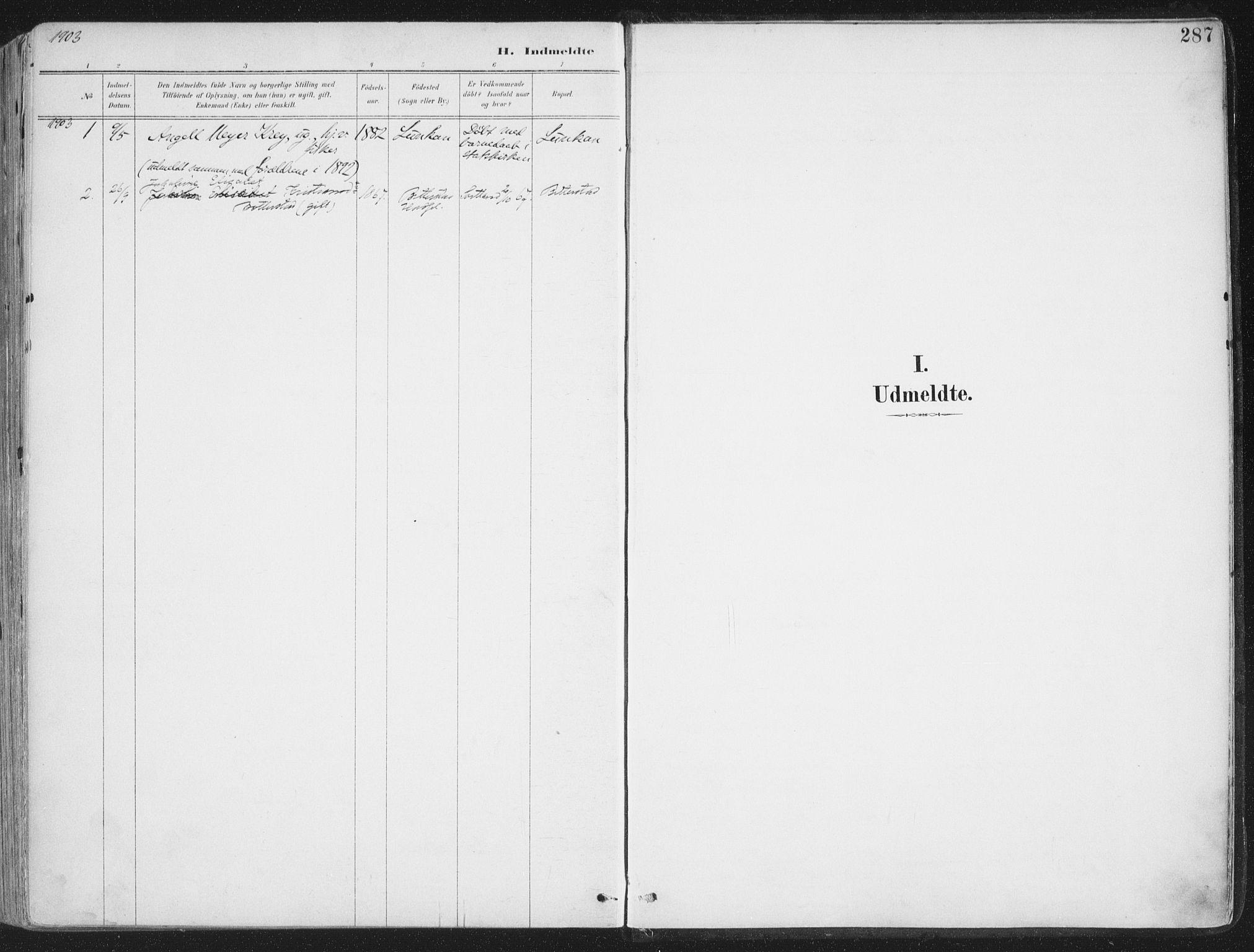SAT, Ministerialprotokoller, klokkerbøker og fødselsregistre - Nordland, 888/L1246: Ministerialbok nr. 888A12, 1891-1903, s. 287