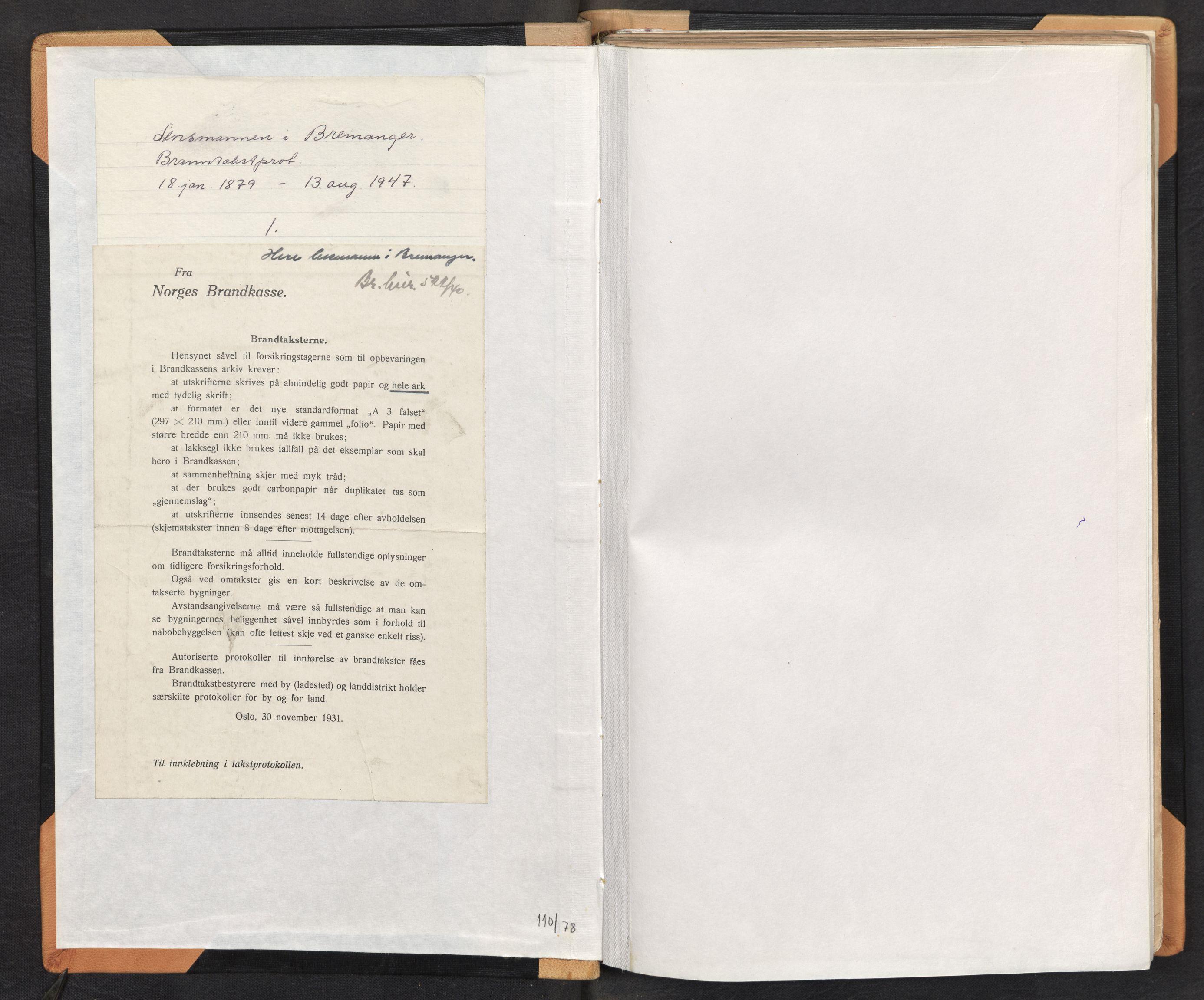 SAB, Lensmannen i Bremanger, 0012/L0002: Branntakstprotokoll, 1879-1947