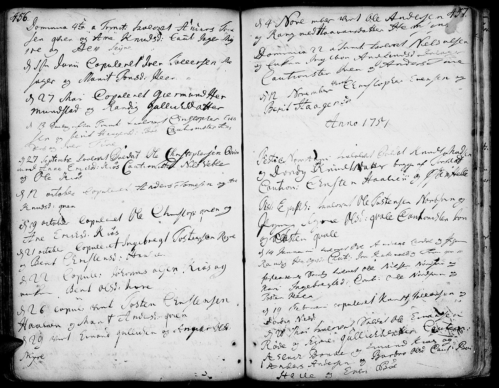 SAH, Vang prestekontor, Valdres, Ministerialbok nr. 1, 1730-1796, s. 456-457