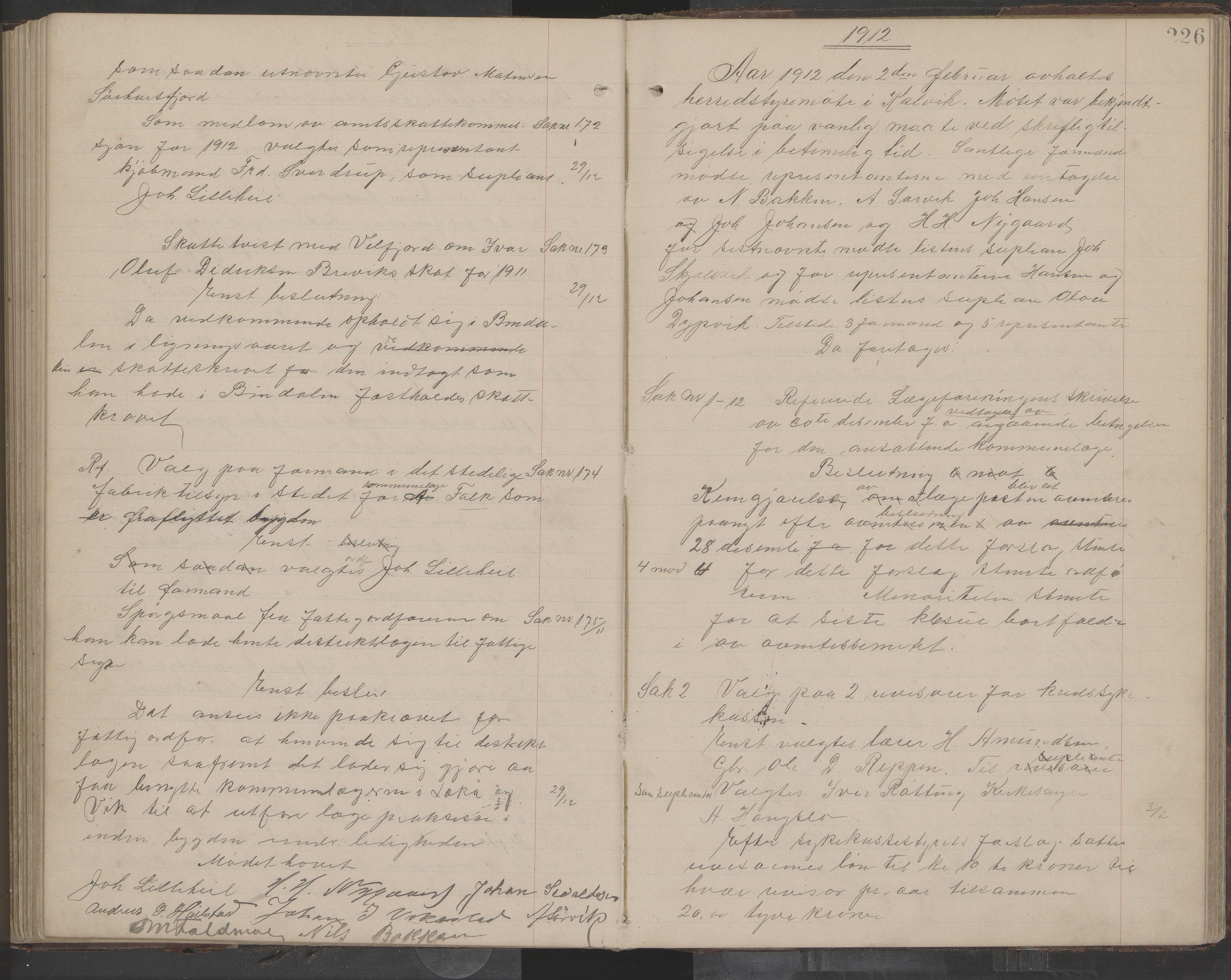 AIN, Bindal kommune. Formannskapet, A/Aa/L0000e: Møtebok, 1903-1914, s. 226