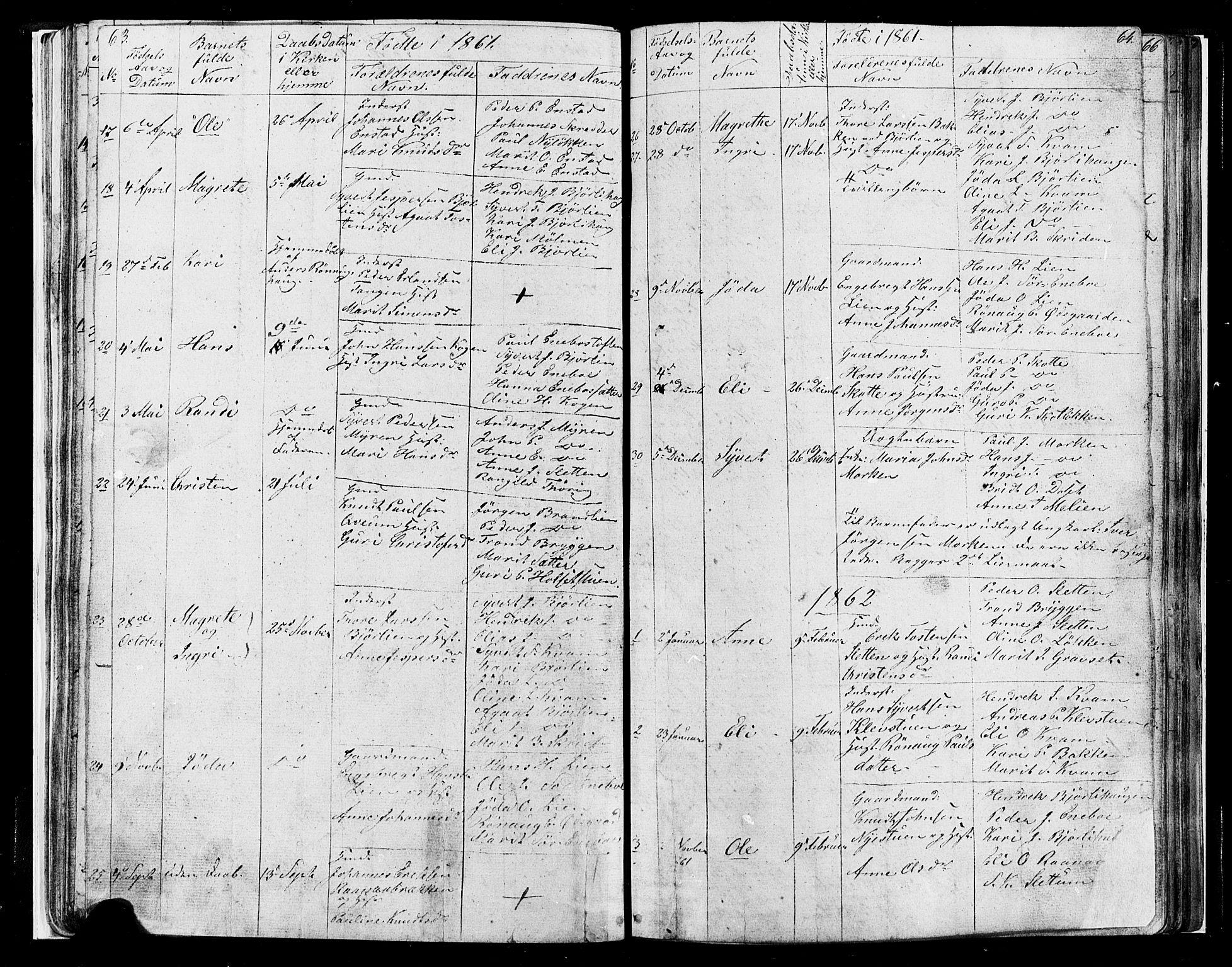 SAH, Lesja prestekontor, Klokkerbok nr. 4, 1842-1871, s. 63-64
