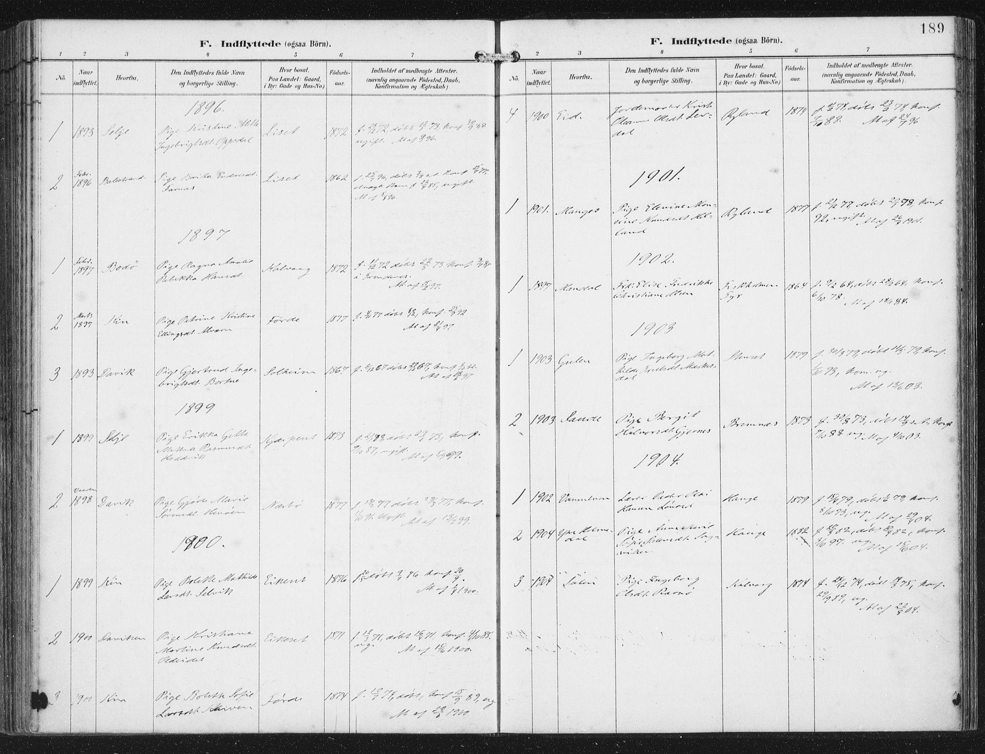 SAB, Bremanger Sokneprestembete, H/Haa: Ministerialbok nr. B  2, 1896-1908, s. 189