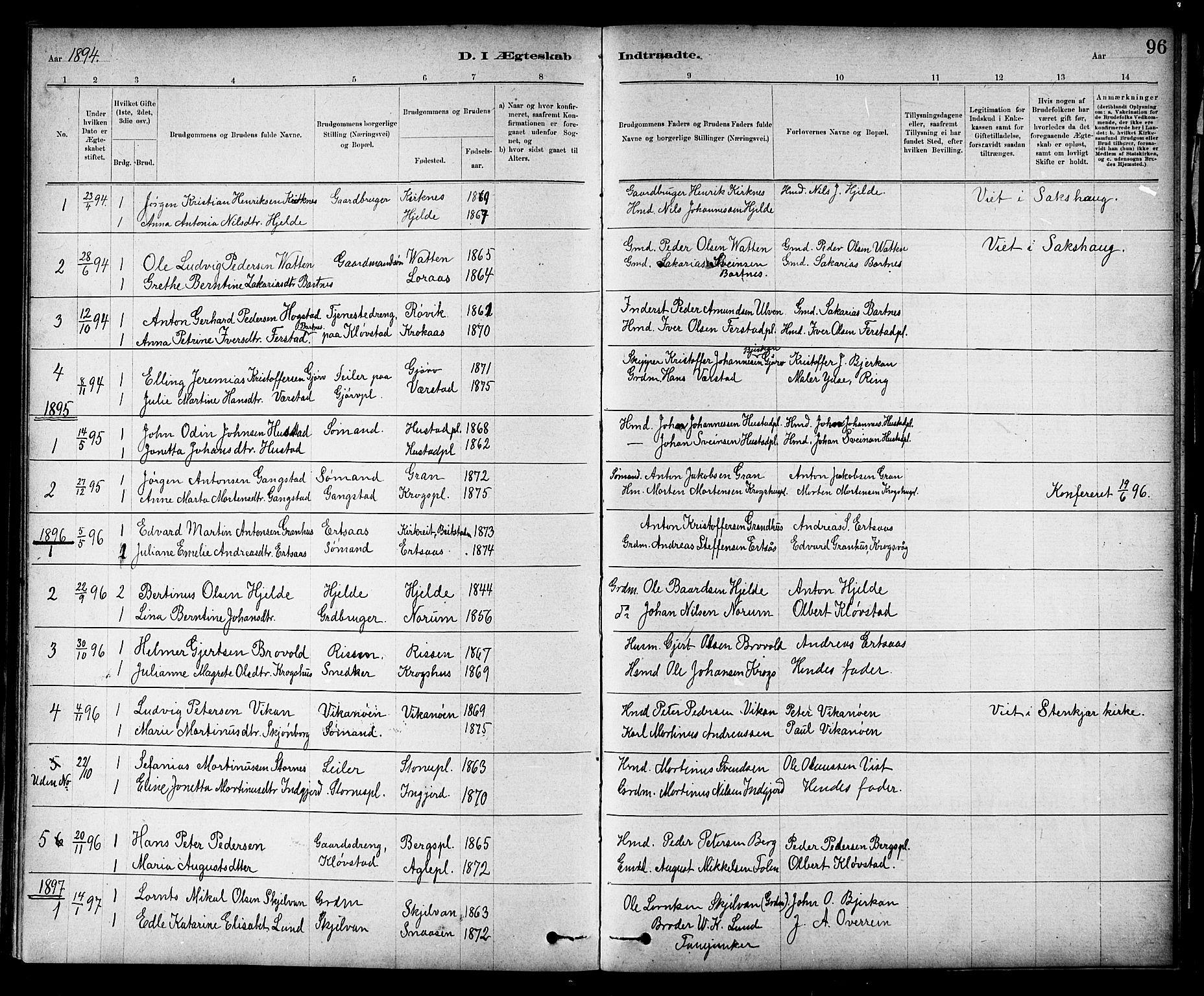 SAT, Ministerialprotokoller, klokkerbøker og fødselsregistre - Nord-Trøndelag, 732/L0318: Klokkerbok nr. 732C02, 1881-1911, s. 96