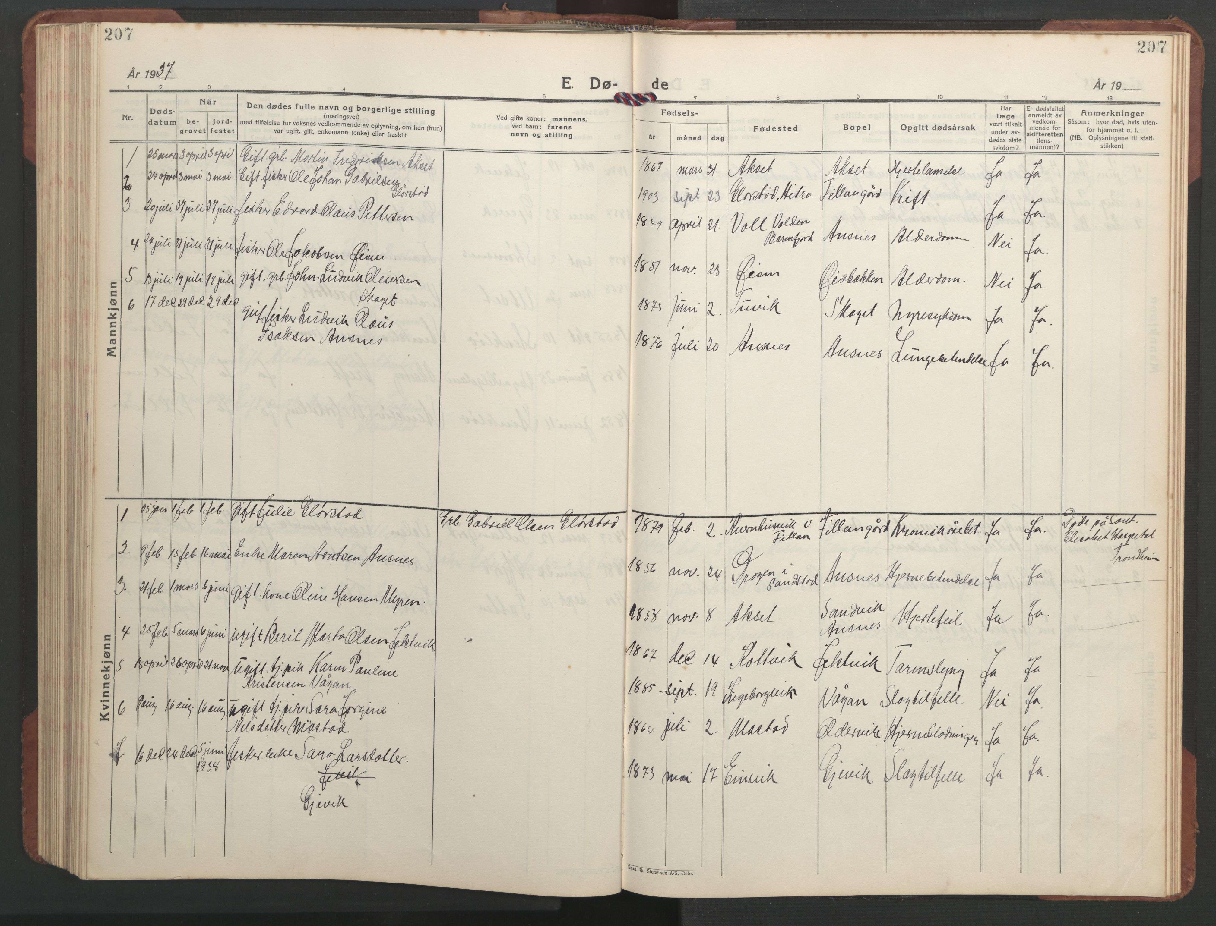 SAT, Ministerialprotokoller, klokkerbøker og fødselsregistre - Sør-Trøndelag, 637/L0564: Klokkerbok nr. 637C05, 1928-1968, s. 207