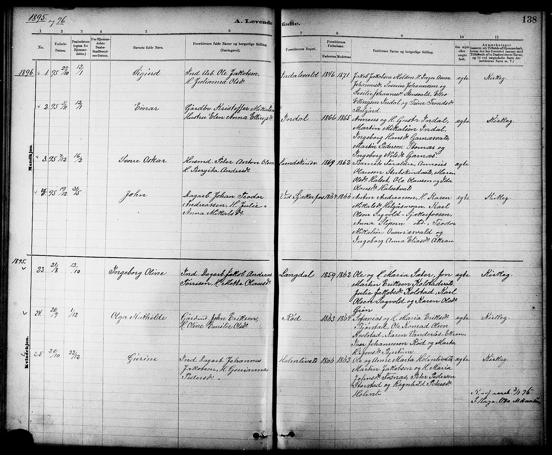 SAT, Ministerialprotokoller, klokkerbøker og fødselsregistre - Nord-Trøndelag, 724/L0267: Klokkerbok nr. 724C03, 1879-1898, s. 138