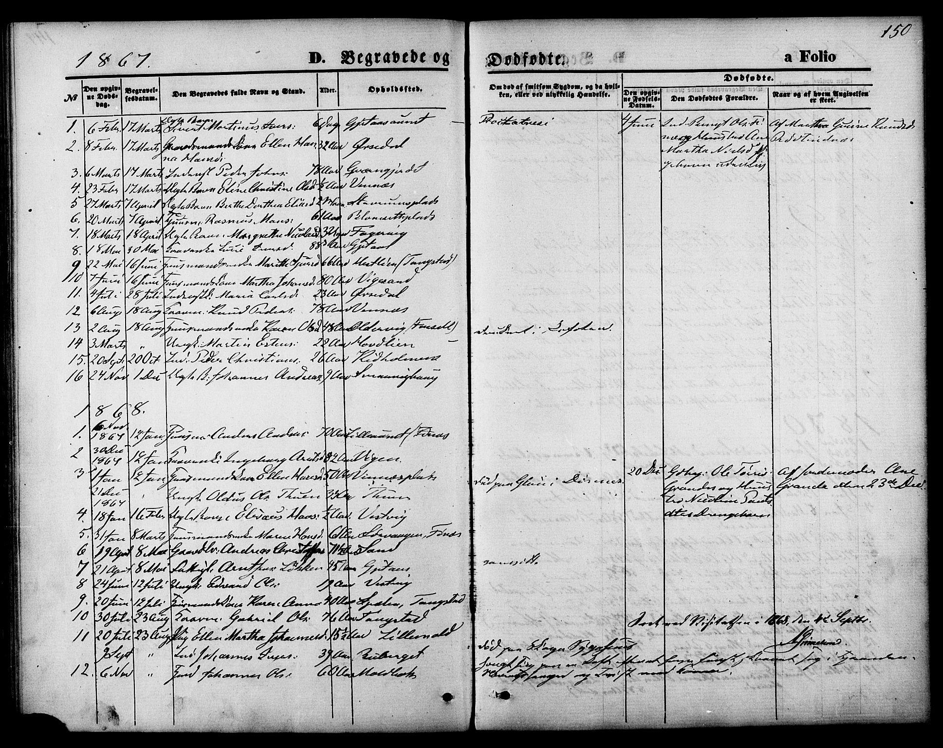 SAT, Ministerialprotokoller, klokkerbøker og fødselsregistre - Nord-Trøndelag, 744/L0419: Ministerialbok nr. 744A03, 1867-1881, s. 150