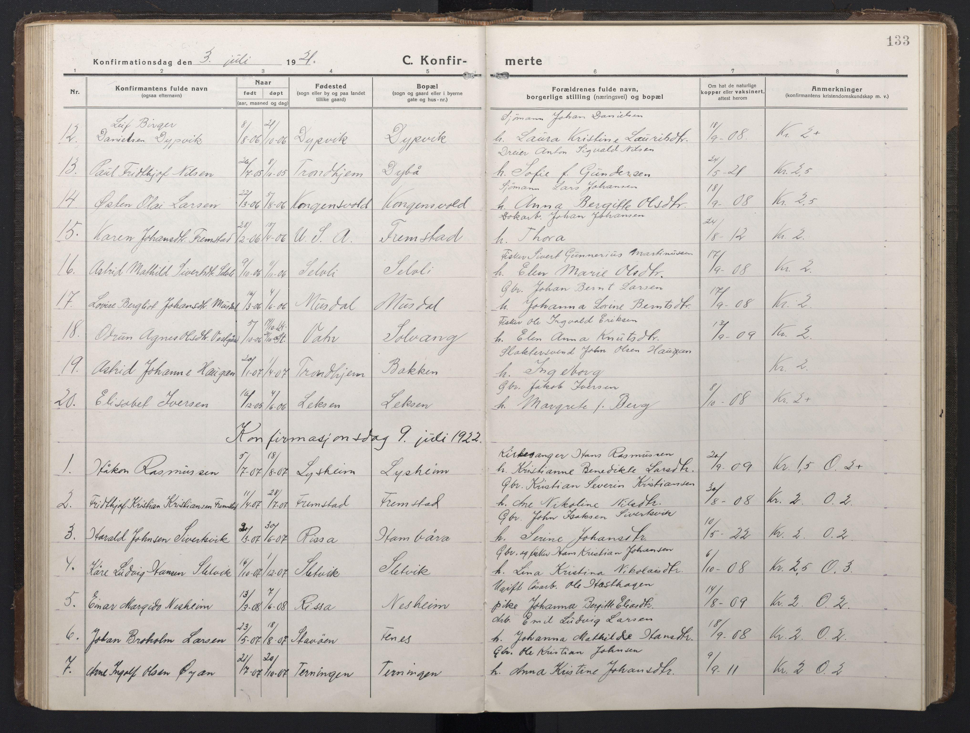 SAT, Ministerialprotokoller, klokkerbøker og fødselsregistre - Sør-Trøndelag, 662/L0758: Klokkerbok nr. 662C03, 1918-1948, s. 133