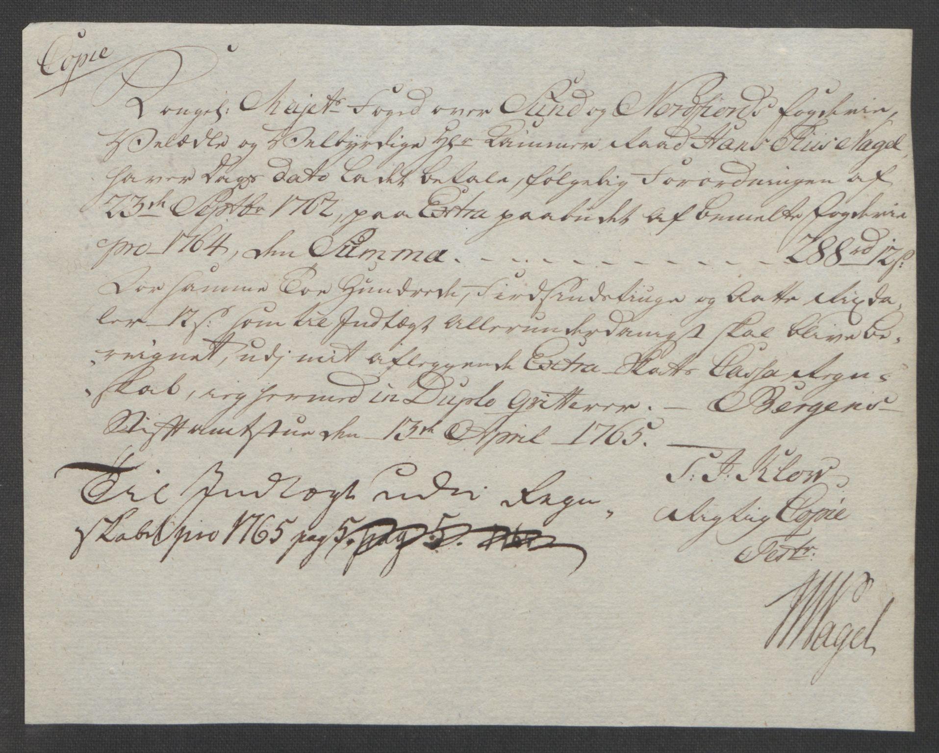RA, Rentekammeret inntil 1814, Reviderte regnskaper, Fogderegnskap, R53/L3550: Ekstraskatten Sunn- og Nordfjord, 1762-1771, s. 134