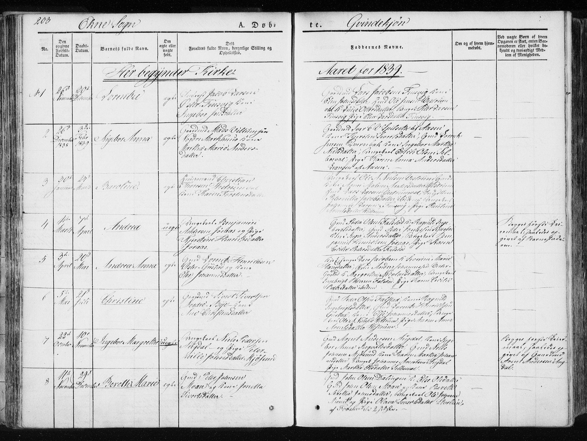SAT, Ministerialprotokoller, klokkerbøker og fødselsregistre - Nord-Trøndelag, 717/L0154: Ministerialbok nr. 717A06 /2, 1836-1849, s. 203