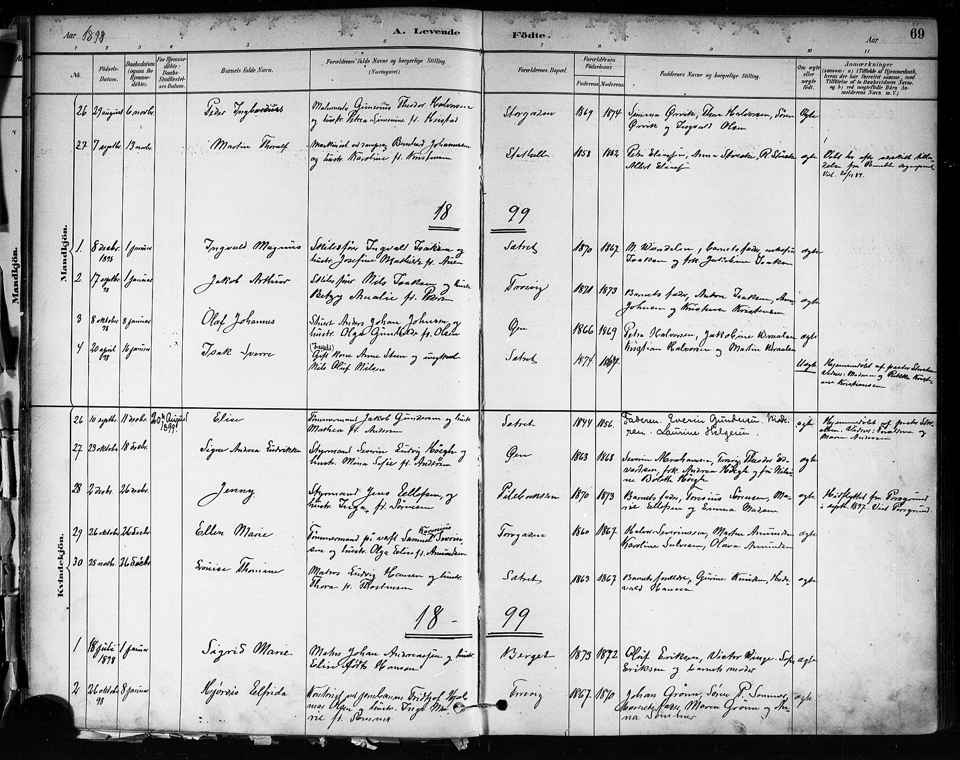 SAKO, Brevik kirkebøker, F/Fa/L0007: Ministerialbok nr. 7, 1882-1900, s. 69