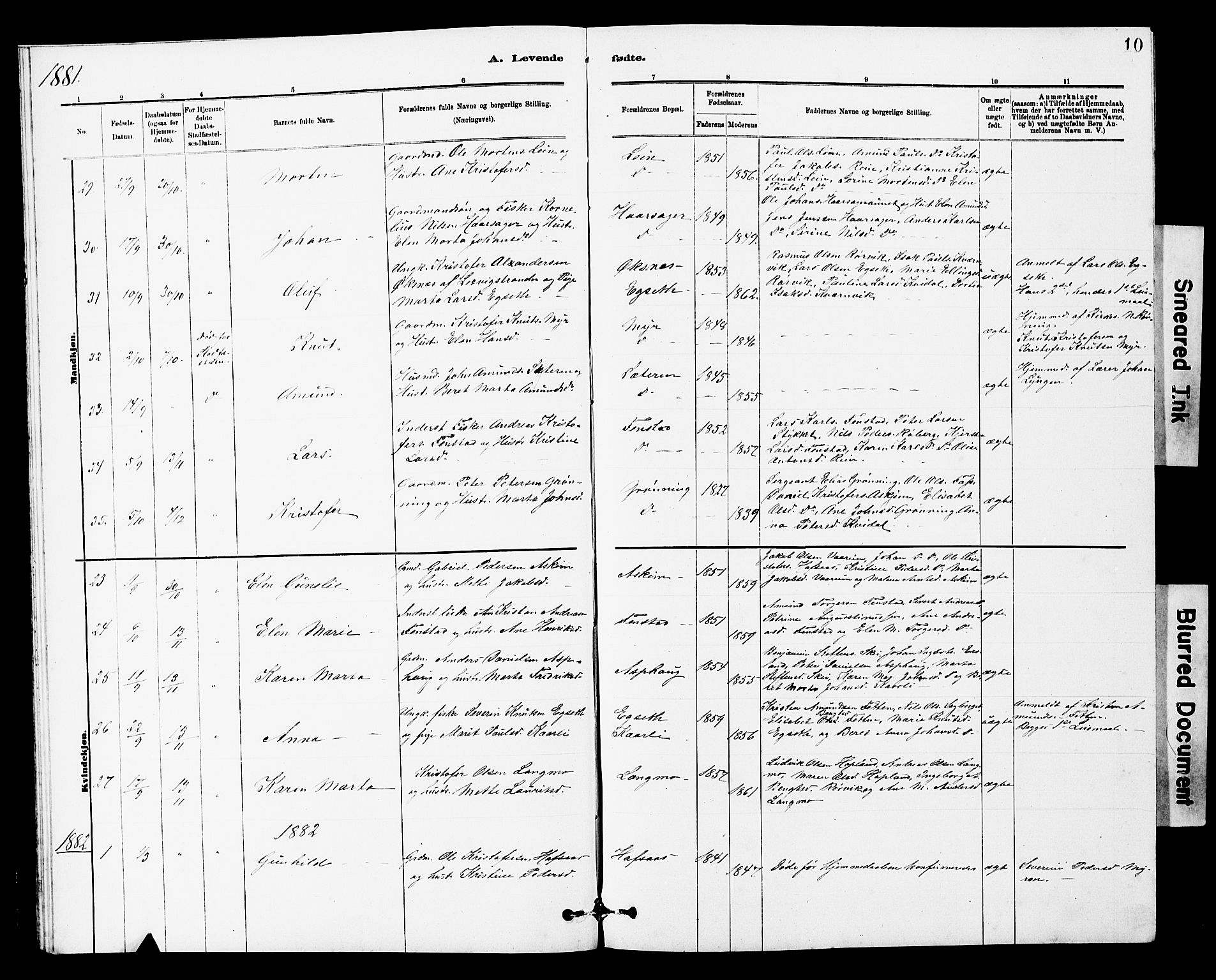 SAT, Ministerialprotokoller, klokkerbøker og fødselsregistre - Sør-Trøndelag, 646/L0628: Klokkerbok nr. 646C01, 1880-1903, s. 10