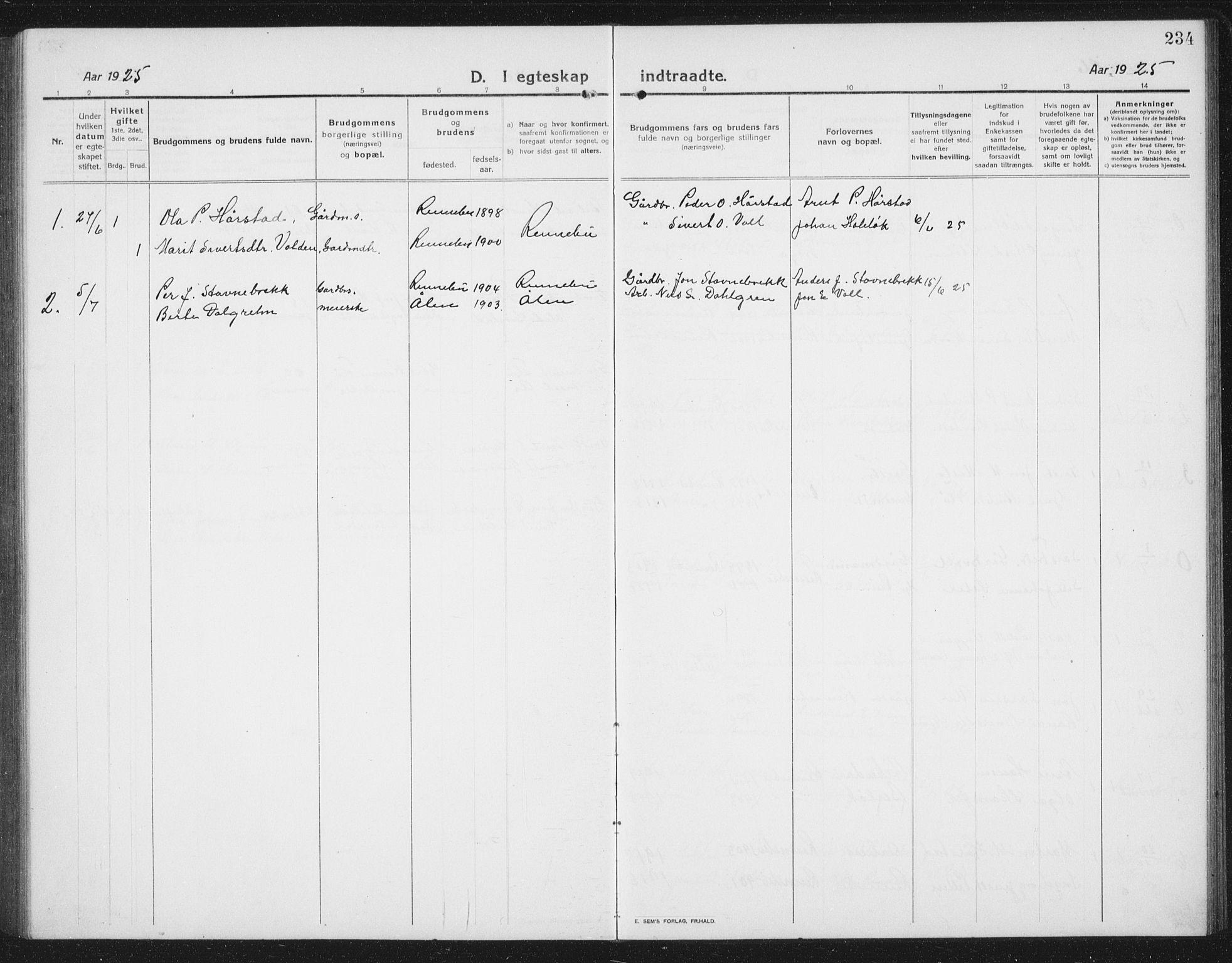 SAT, Ministerialprotokoller, klokkerbøker og fødselsregistre - Sør-Trøndelag, 674/L0877: Klokkerbok nr. 674C04, 1913-1940, s. 234