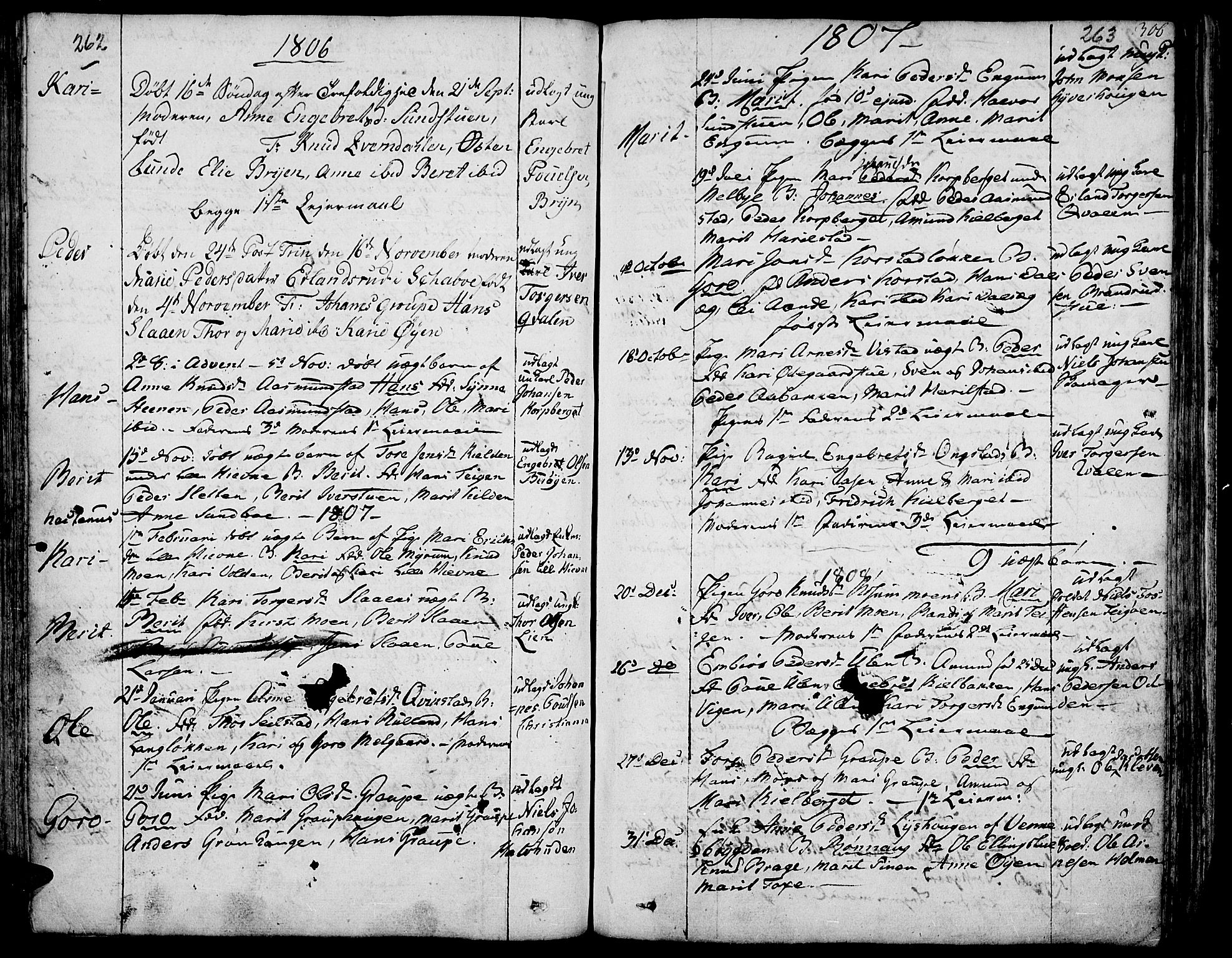 SAH, Fron prestekontor, H/Ha/Haa/L0001: Ministerialbok nr. 1, 1799-1816, s. 262-263