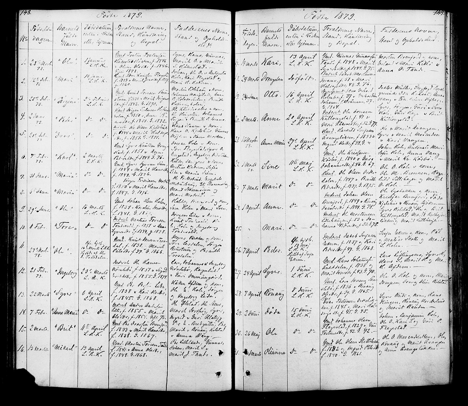SAH, Lesja prestekontor, Klokkerbok nr. 5, 1850-1894, s. 148-149