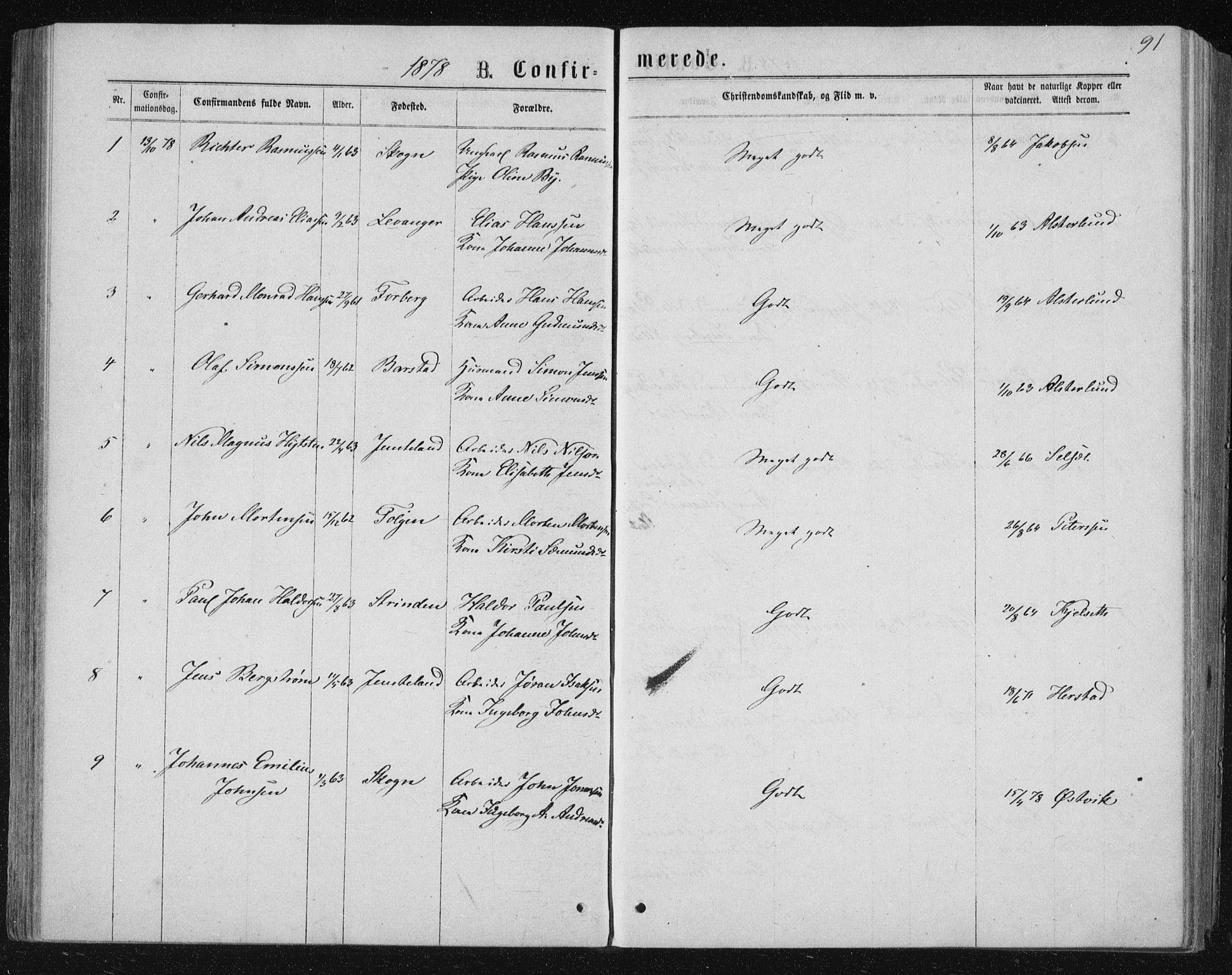 SAT, Ministerialprotokoller, klokkerbøker og fødselsregistre - Nord-Trøndelag, 722/L0219: Ministerialbok nr. 722A06, 1868-1880, s. 91