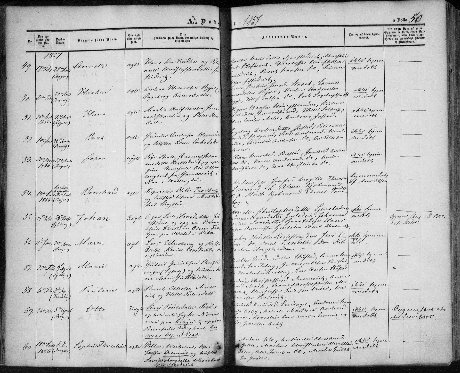 SAKO, Lier kirkebøker, F/Fa/L0012: Ministerialbok nr. I 12, 1854-1864, s. 50